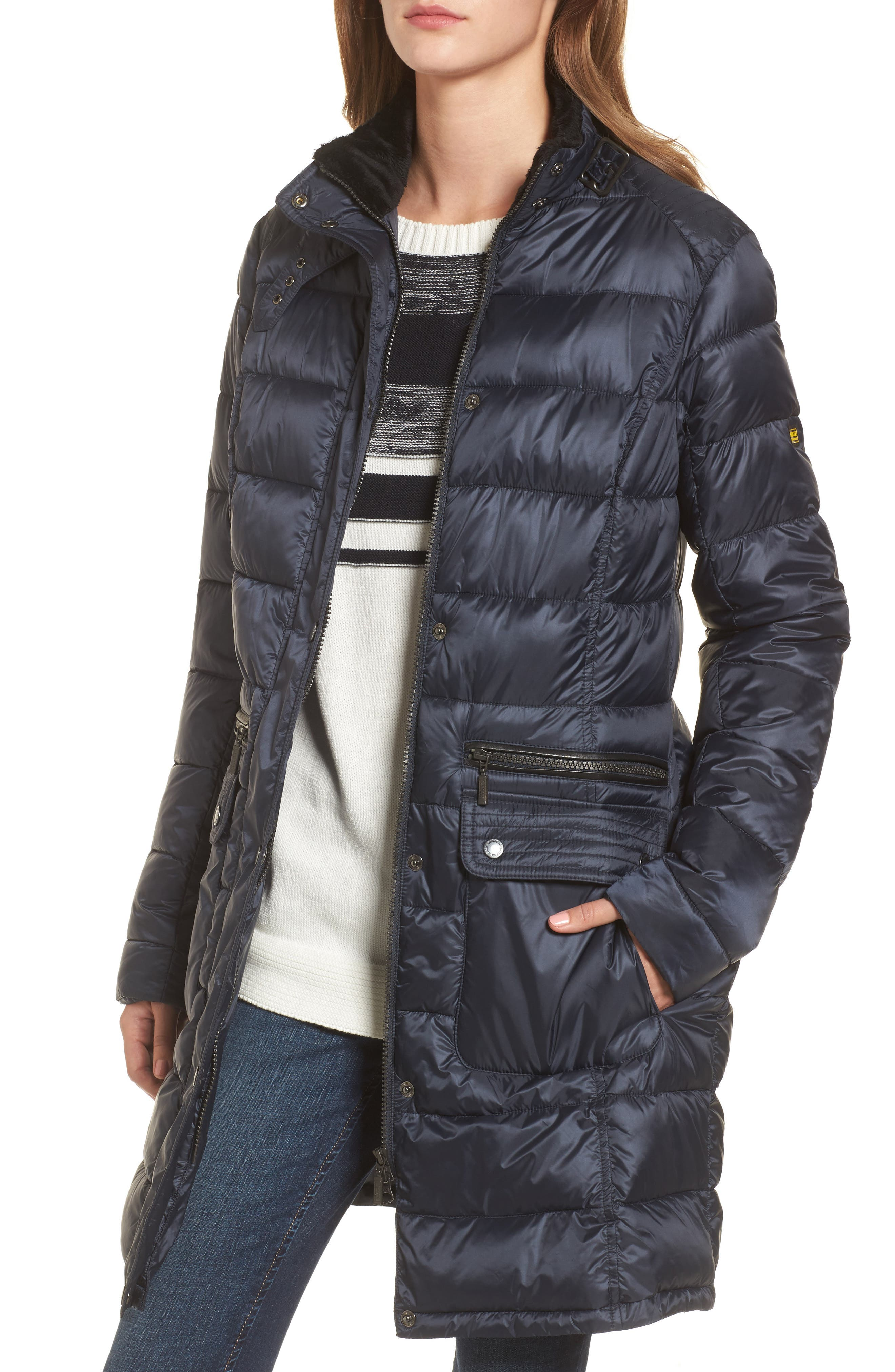 Dunnet Water Resistant Hooded Quilted Coat with Faux Fur Trim,                             Alternate thumbnail 4, color,                             Navy