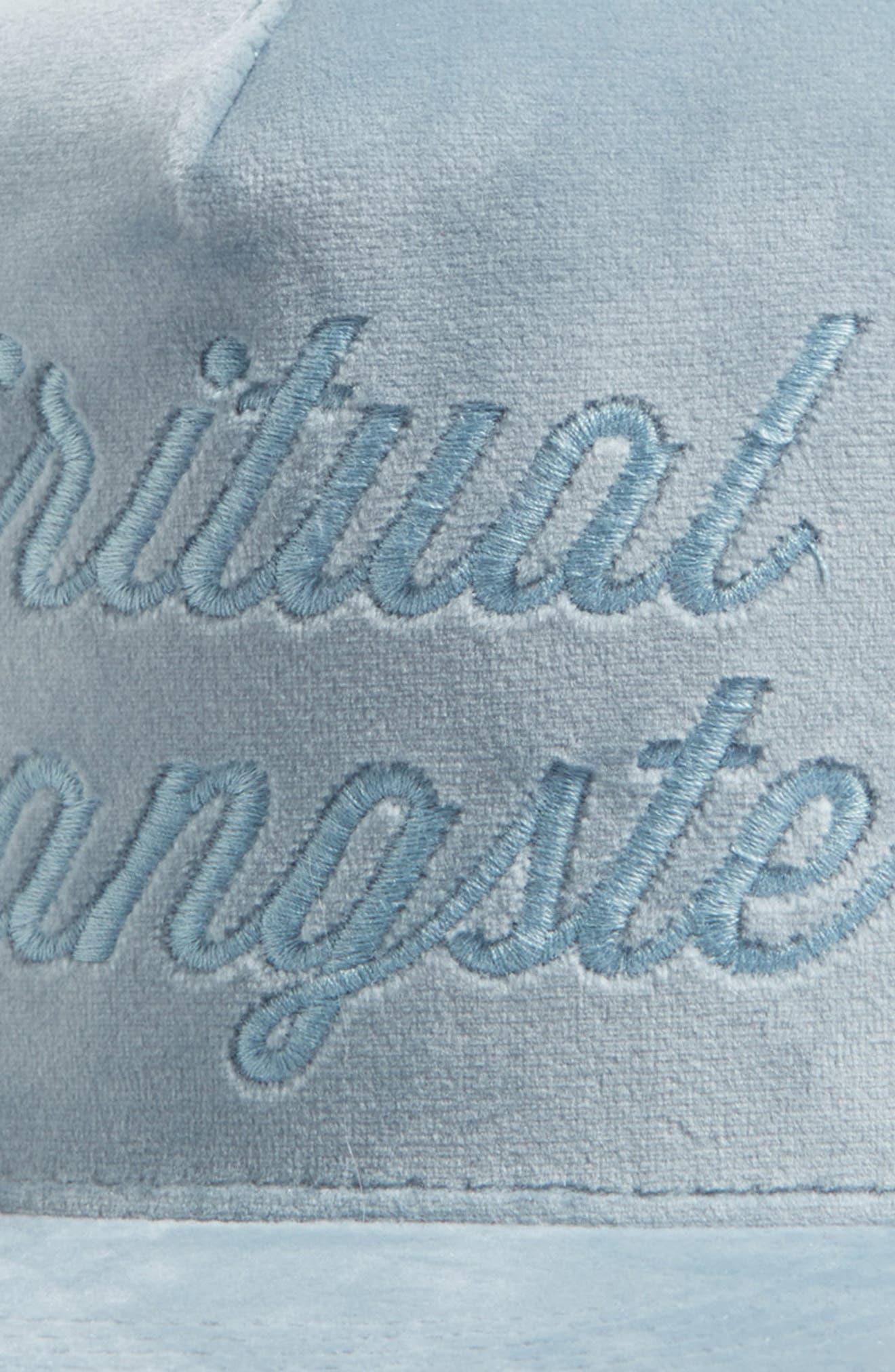 Logo Script Velvet Snapback Cap,                             Alternate thumbnail 3, color,                             Sky