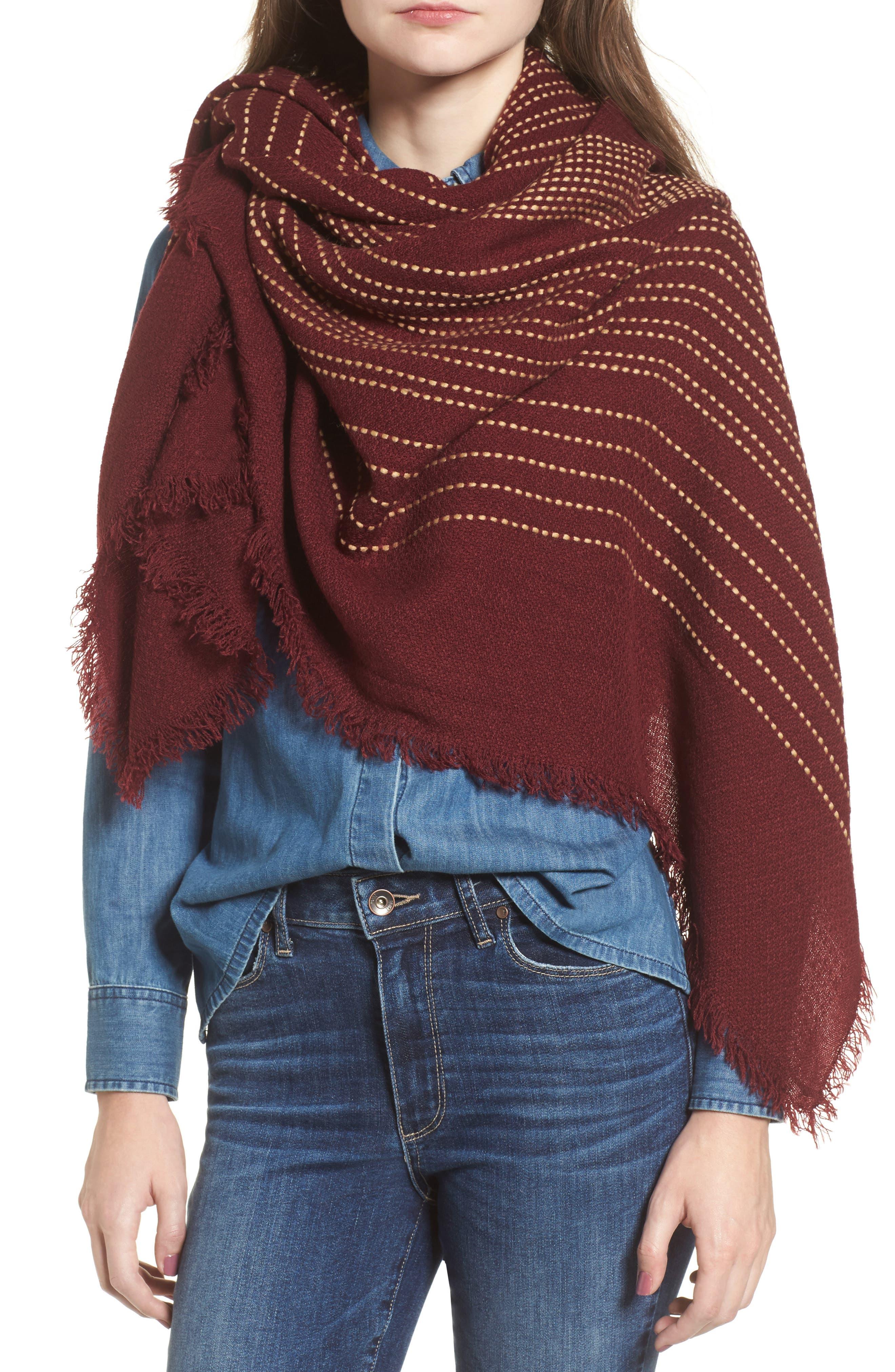Textured Stripe Blanket Scarf,                             Alternate thumbnail 4, color,                             Wine
