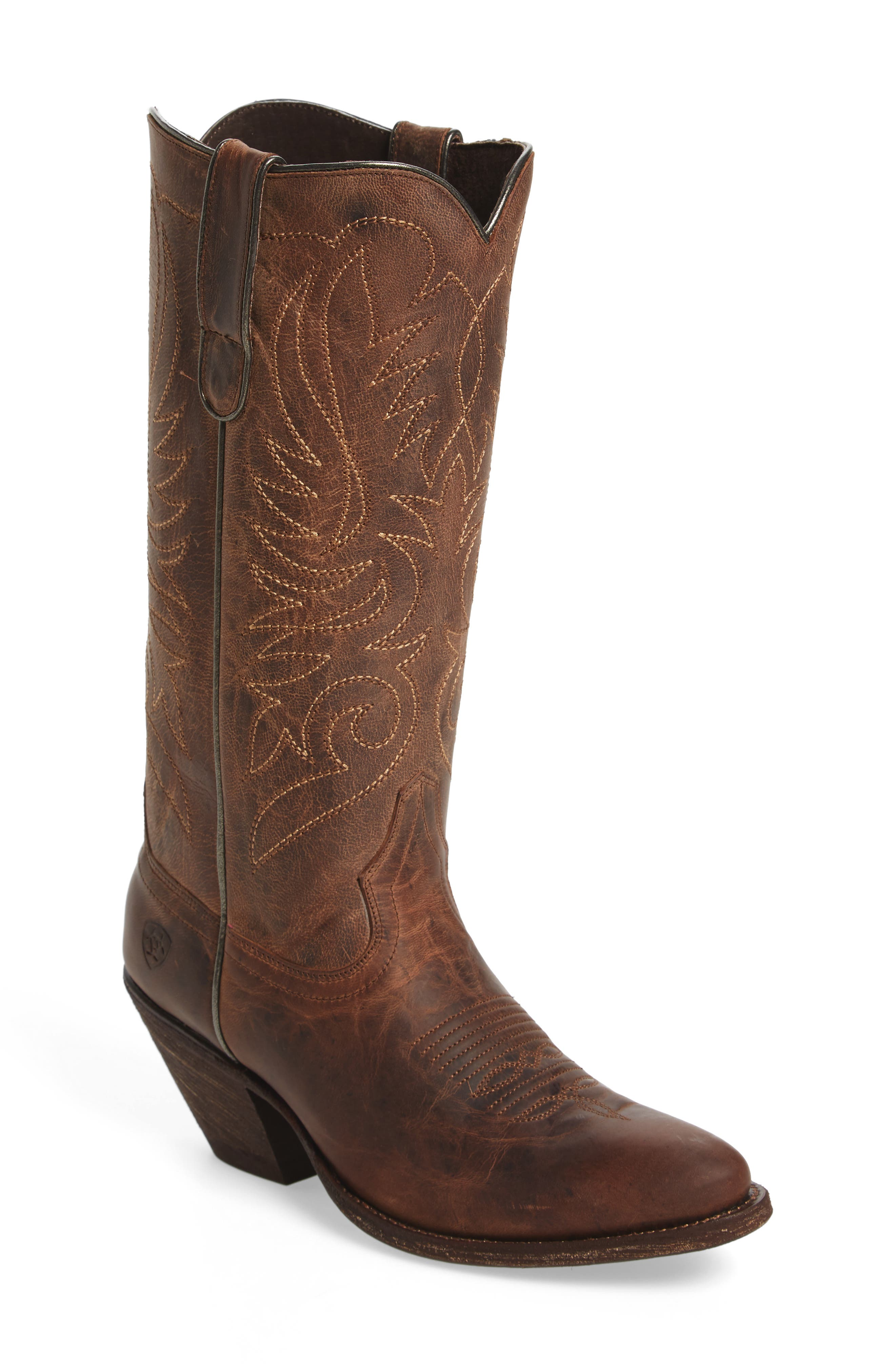 Shindig Western Boot,                         Main,                         color, Weathered Tan Leather