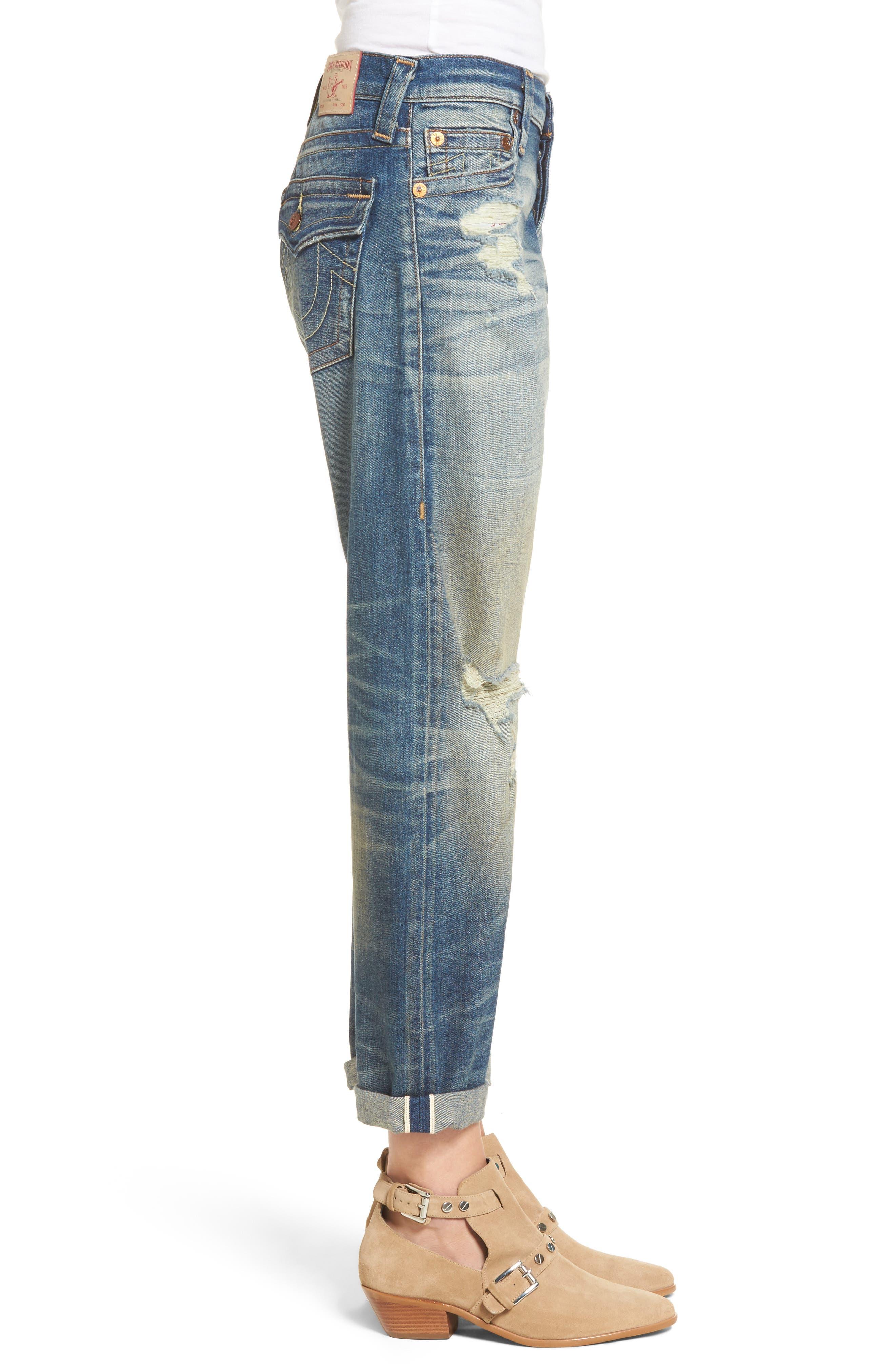 Cameron Slim Boyfriend Jeans,                             Alternate thumbnail 4, color,                             Indigo Legacy