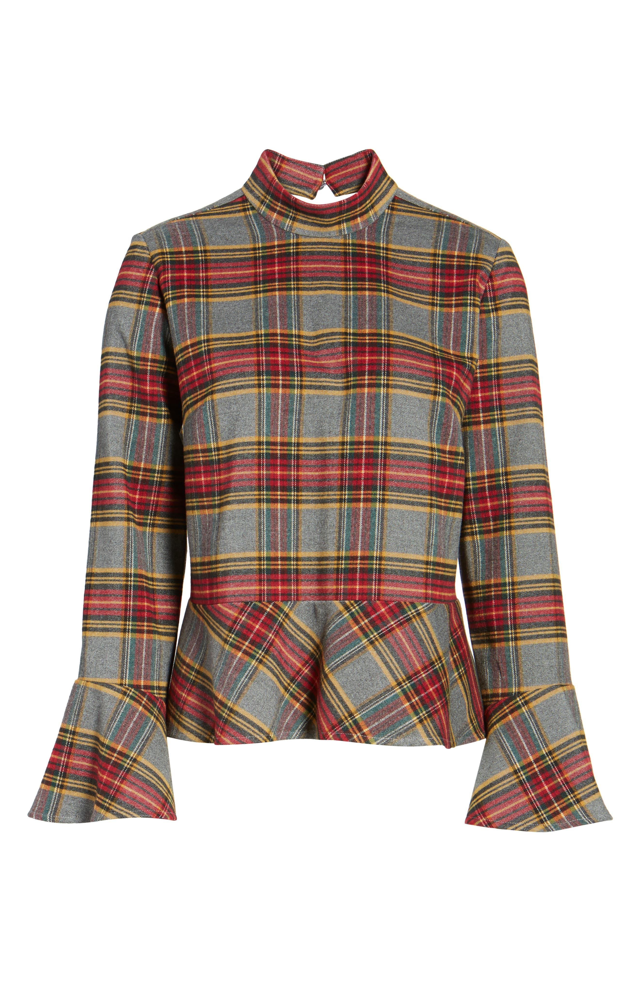 Plaid Ruffle Hem Shirt,                             Alternate thumbnail 6, color,                             Grey Medium Heather Tartan