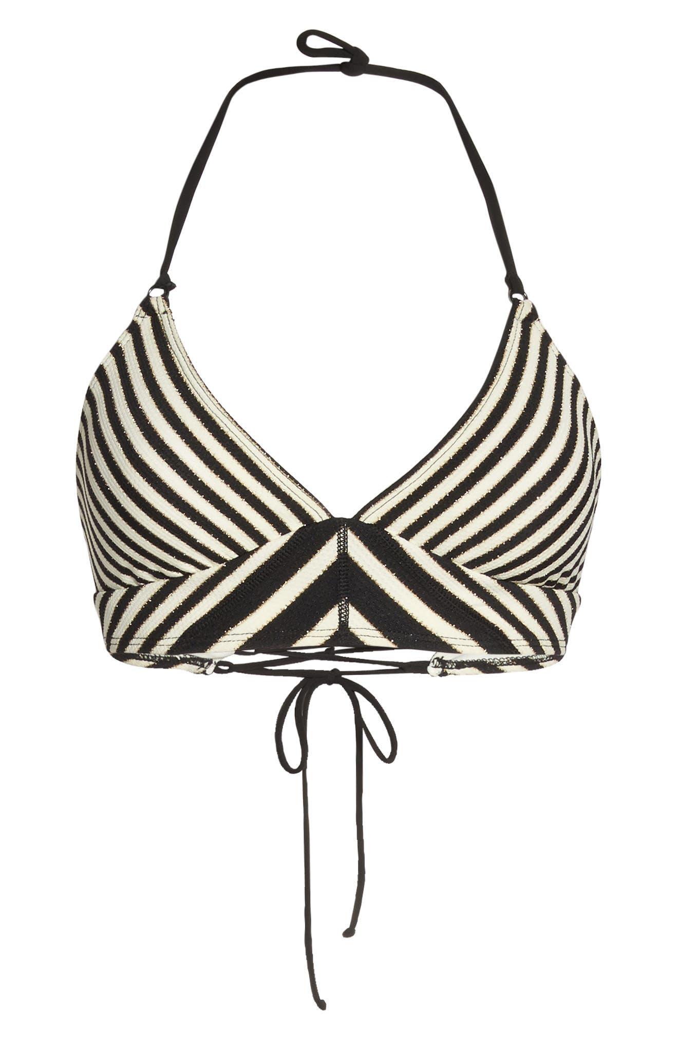 Carmen Stripe Halter Bikini Top,                             Alternate thumbnail 9, color,                             Black Ivory
