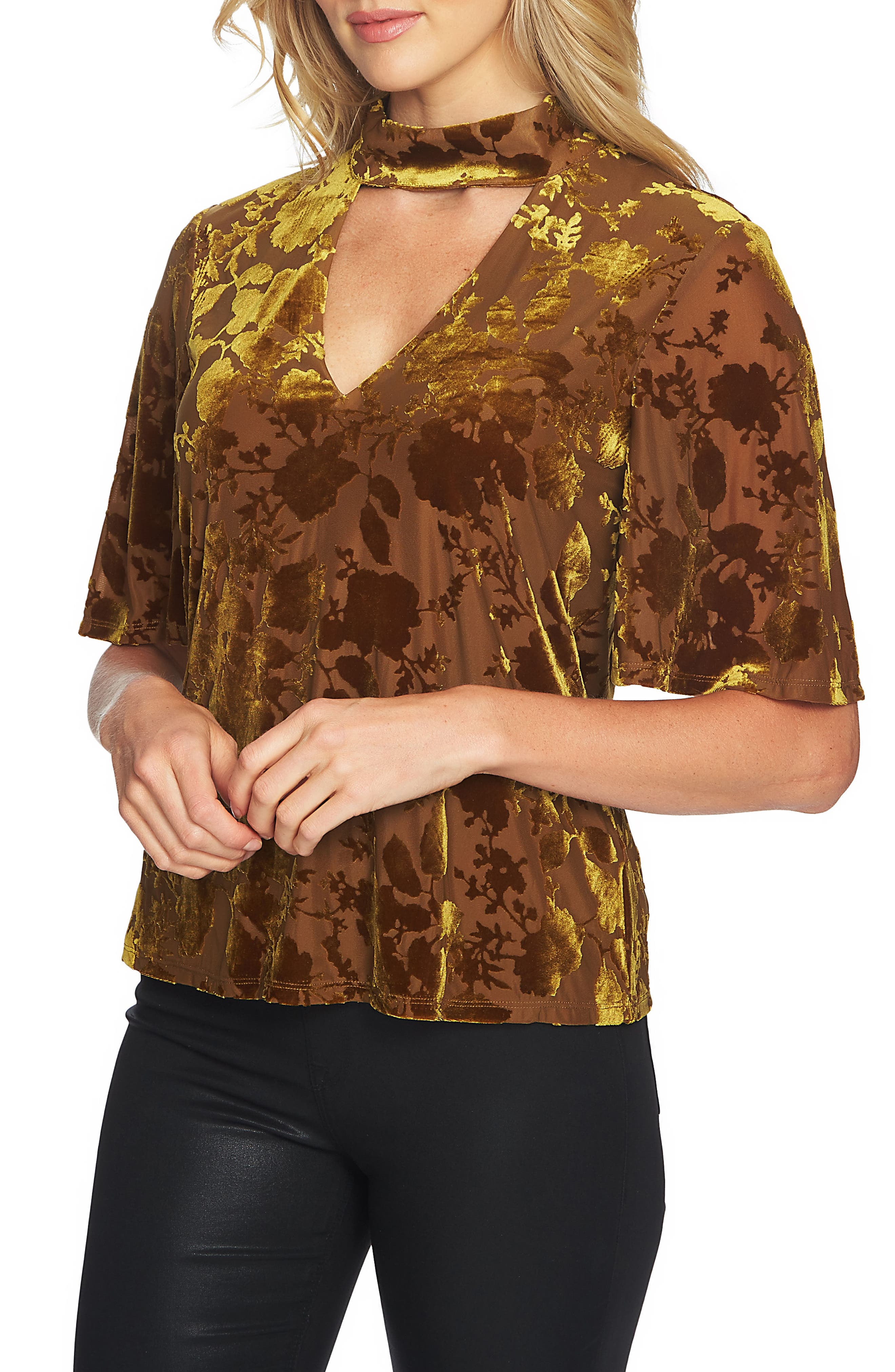 Burnout Velvet Choker Top,                             Main thumbnail 1, color,                             Deep Gold