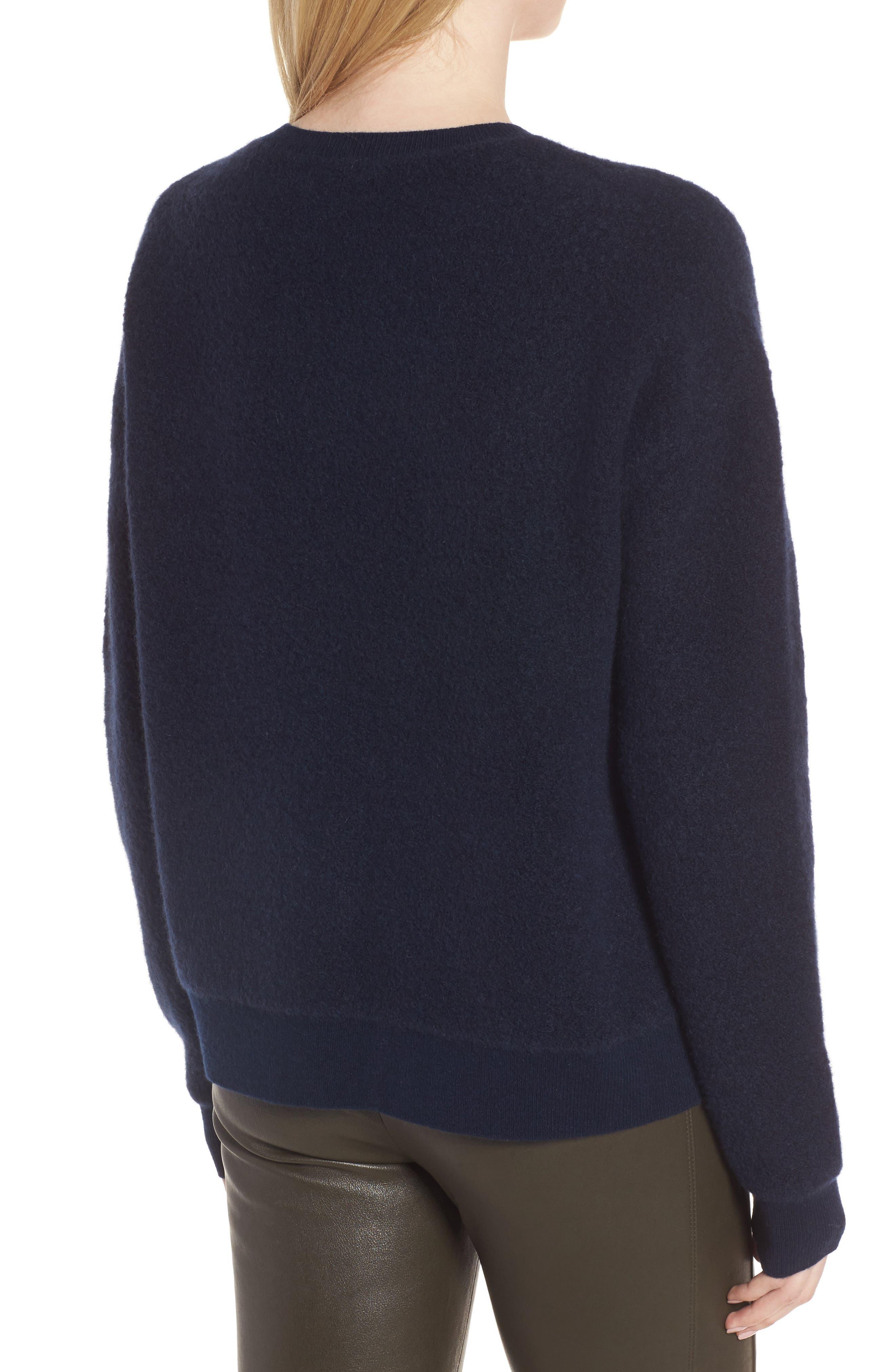 Cashmere Blend Bouclé Sweater,                             Alternate thumbnail 3, color,                             Navy Medieval