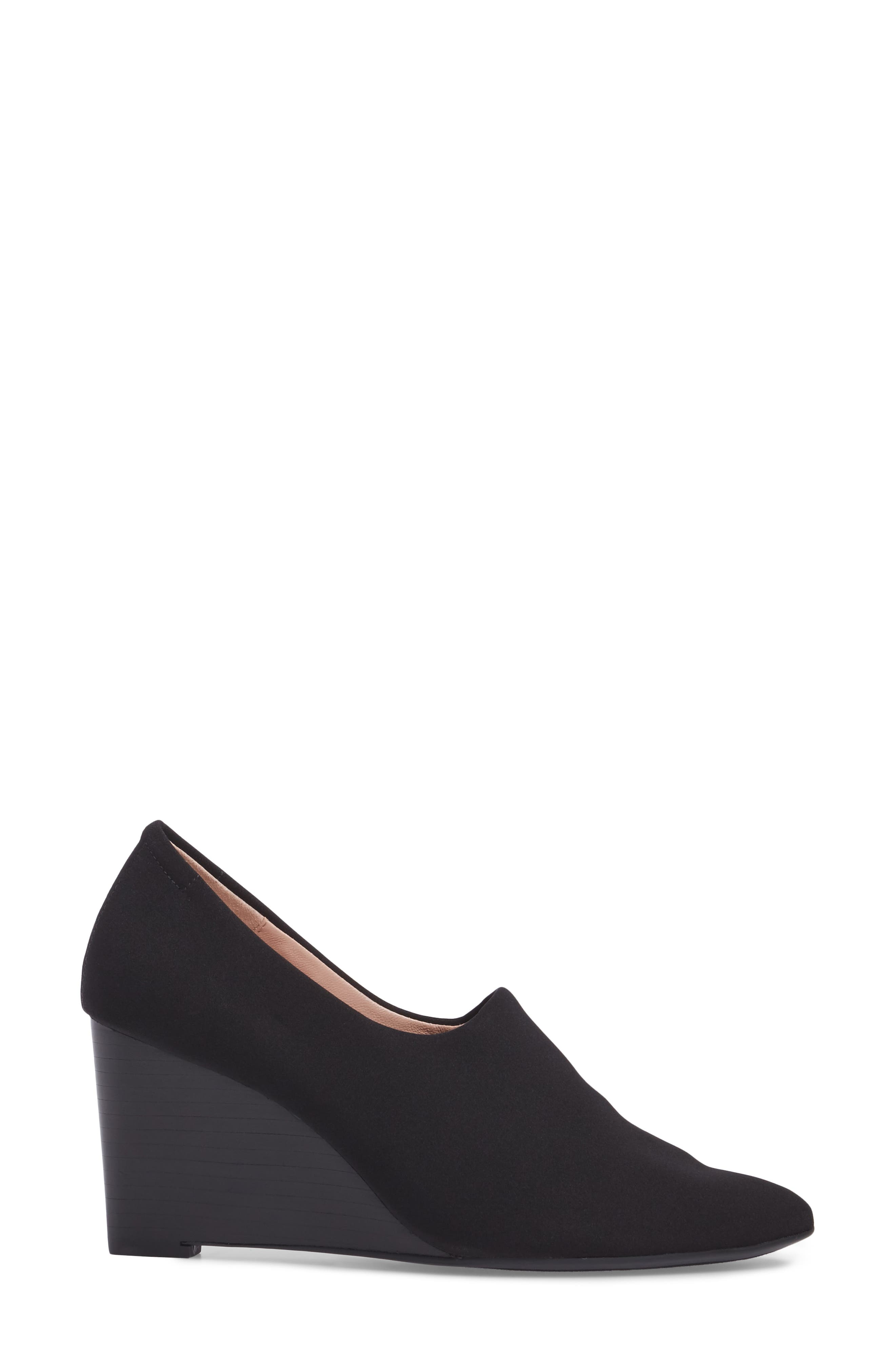Yvonne Pointy Toe Wedge,                             Alternate thumbnail 3, color,                             Black Fabric
