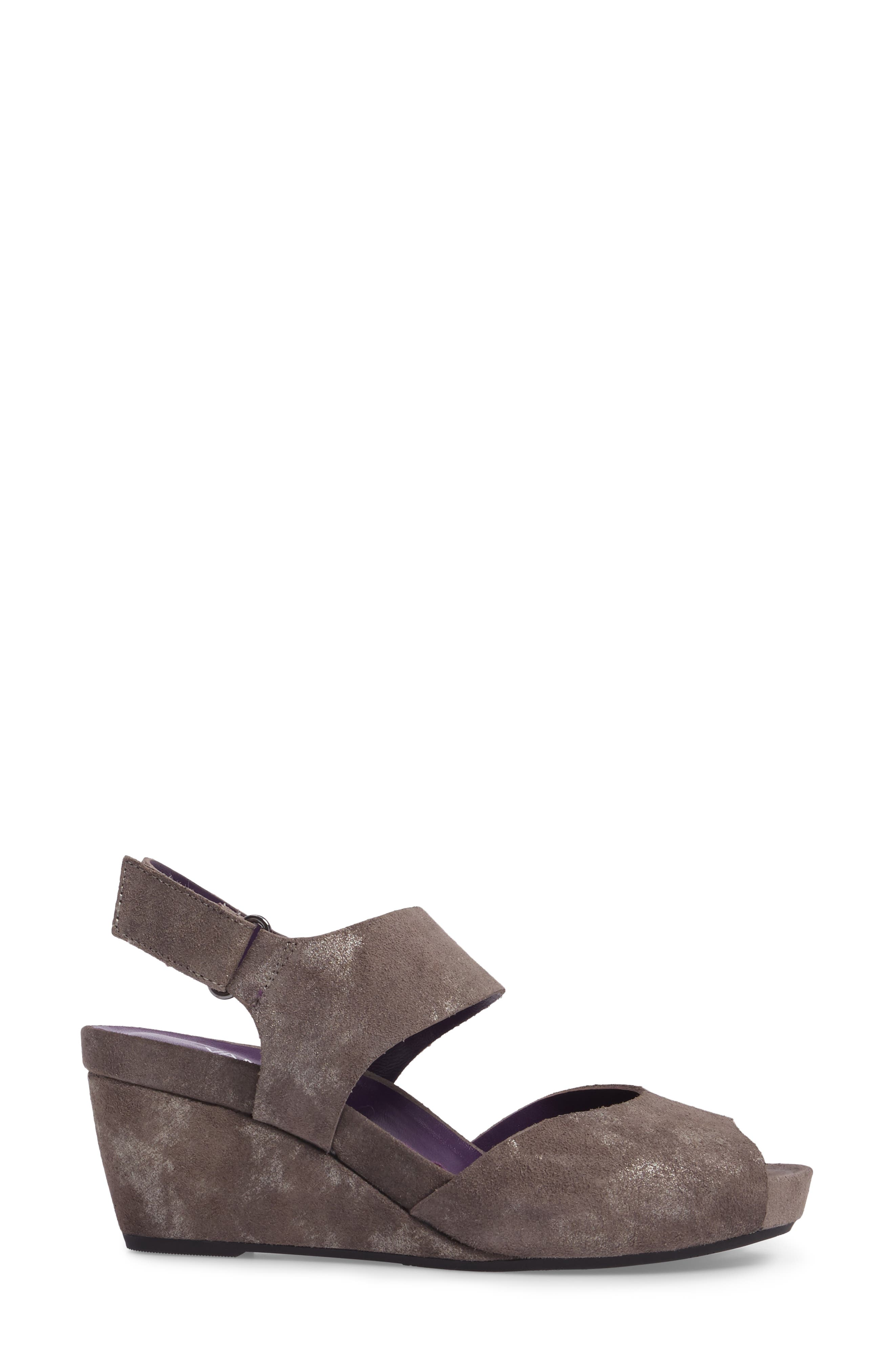 Ilex Wedge Sandal,                             Alternate thumbnail 3, color,                             Taupe Suede