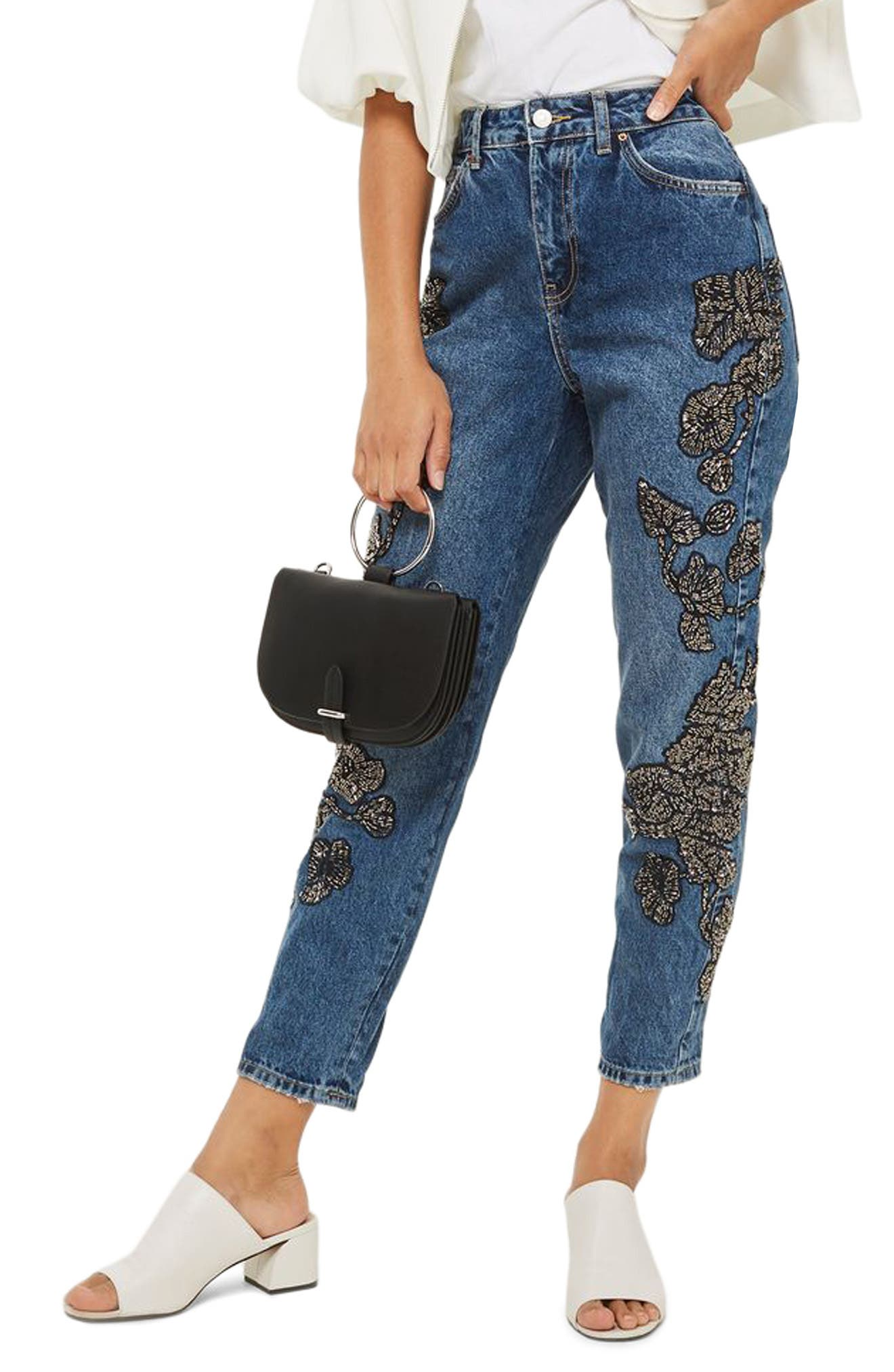 English Flower Embellished Mom Jeans,                             Main thumbnail 1, color,                             Mid Denim Multi
