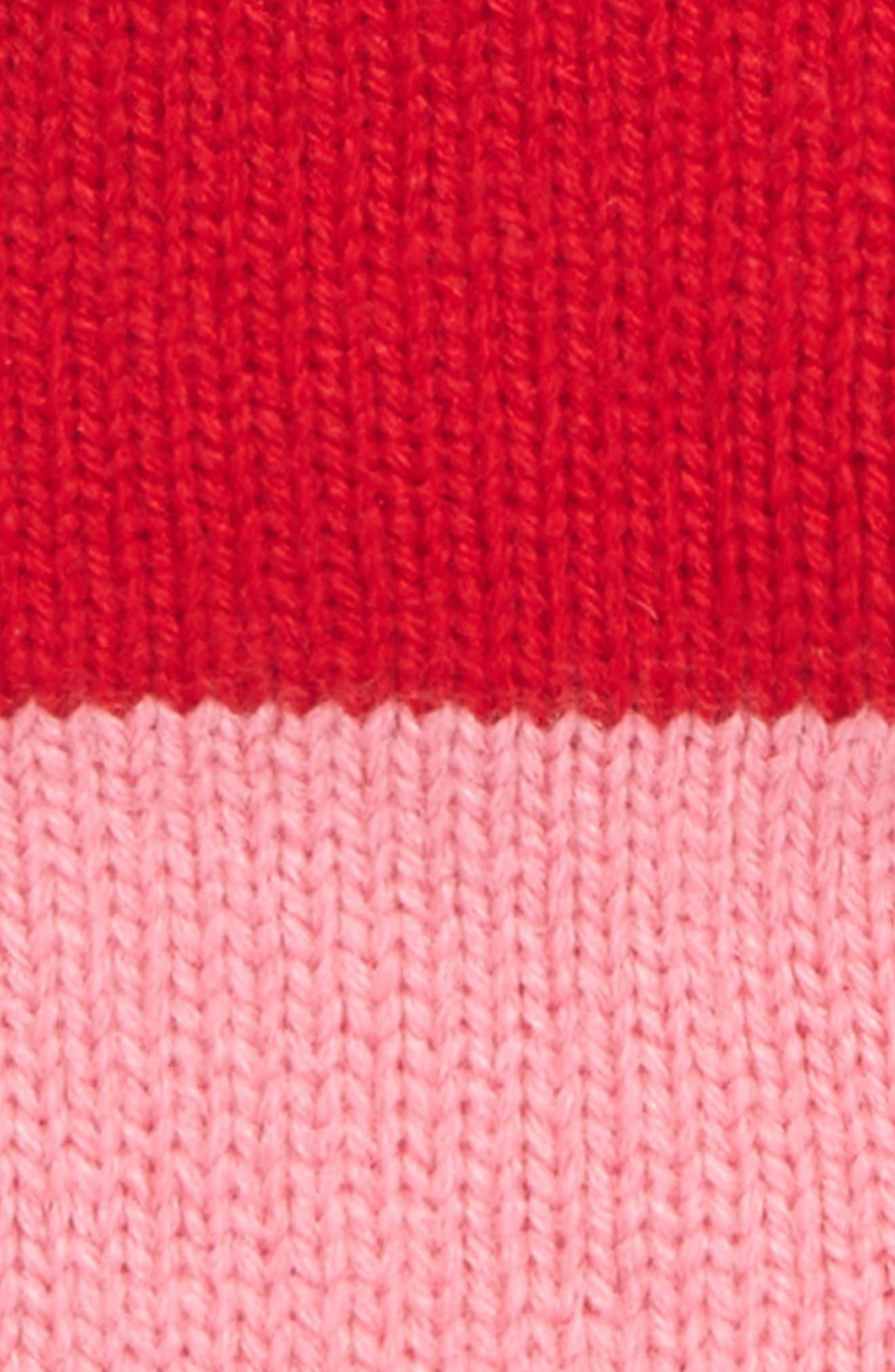 colorblock knit gloves,                             Alternate thumbnail 2, color,                             Fleur De Lis/Charm Red