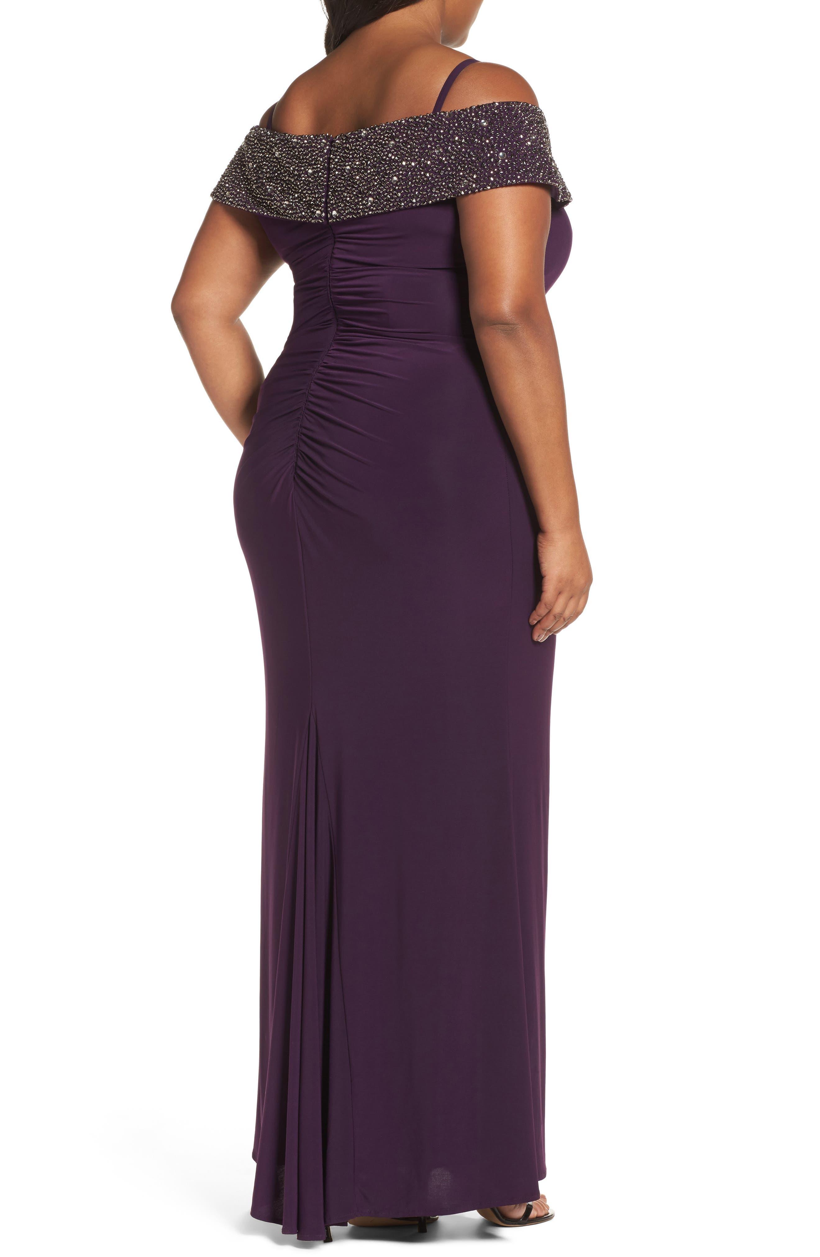 Alternate Image 2  - Xscape Embellished Off the Shoulder Gown (Plus Size)