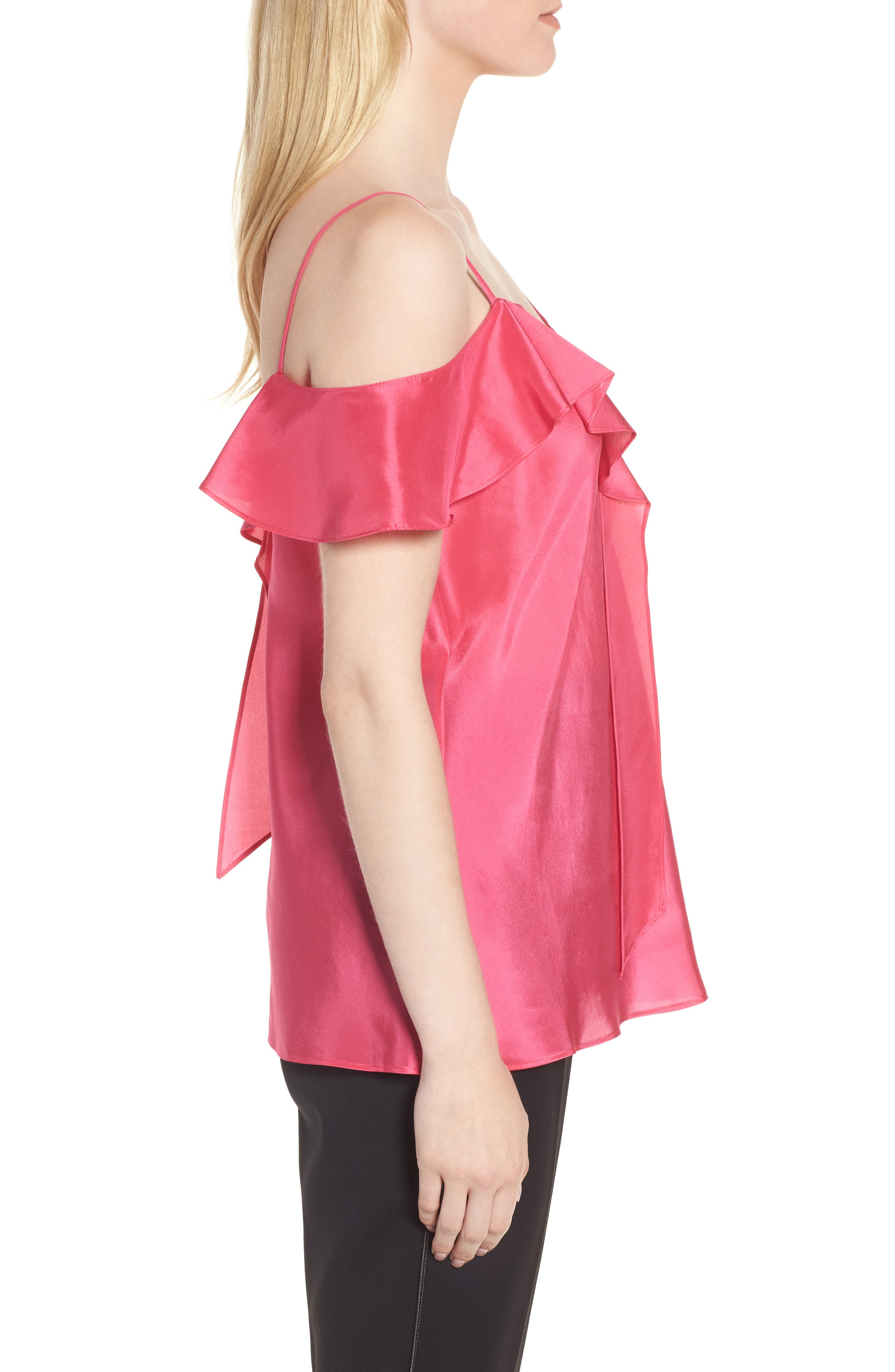 Ruffle Silk Camisole,                             Alternate thumbnail 3, color,                             Pink Rouge