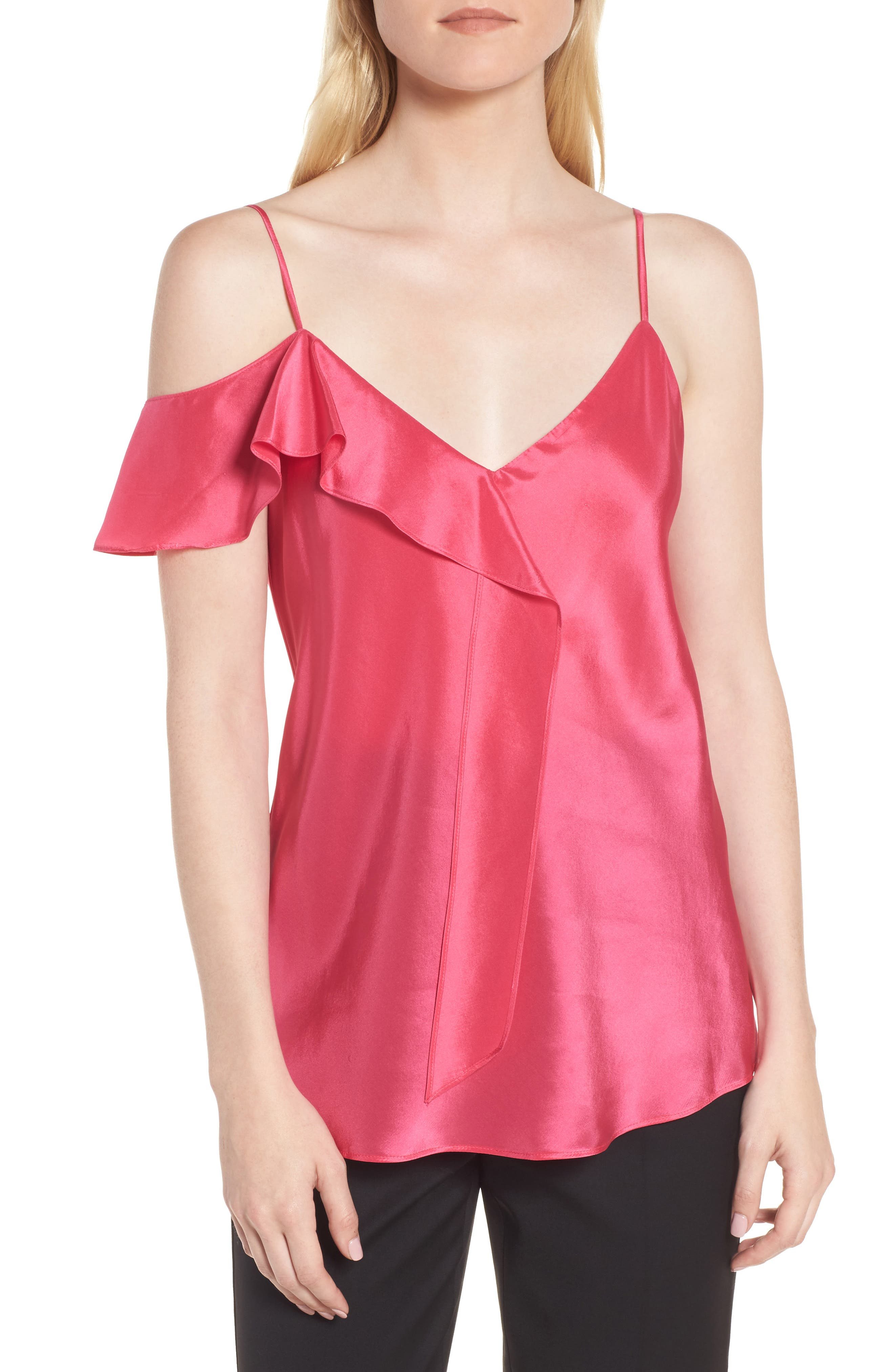 Ruffle Silk Camisole,                         Main,                         color, Pink Rouge