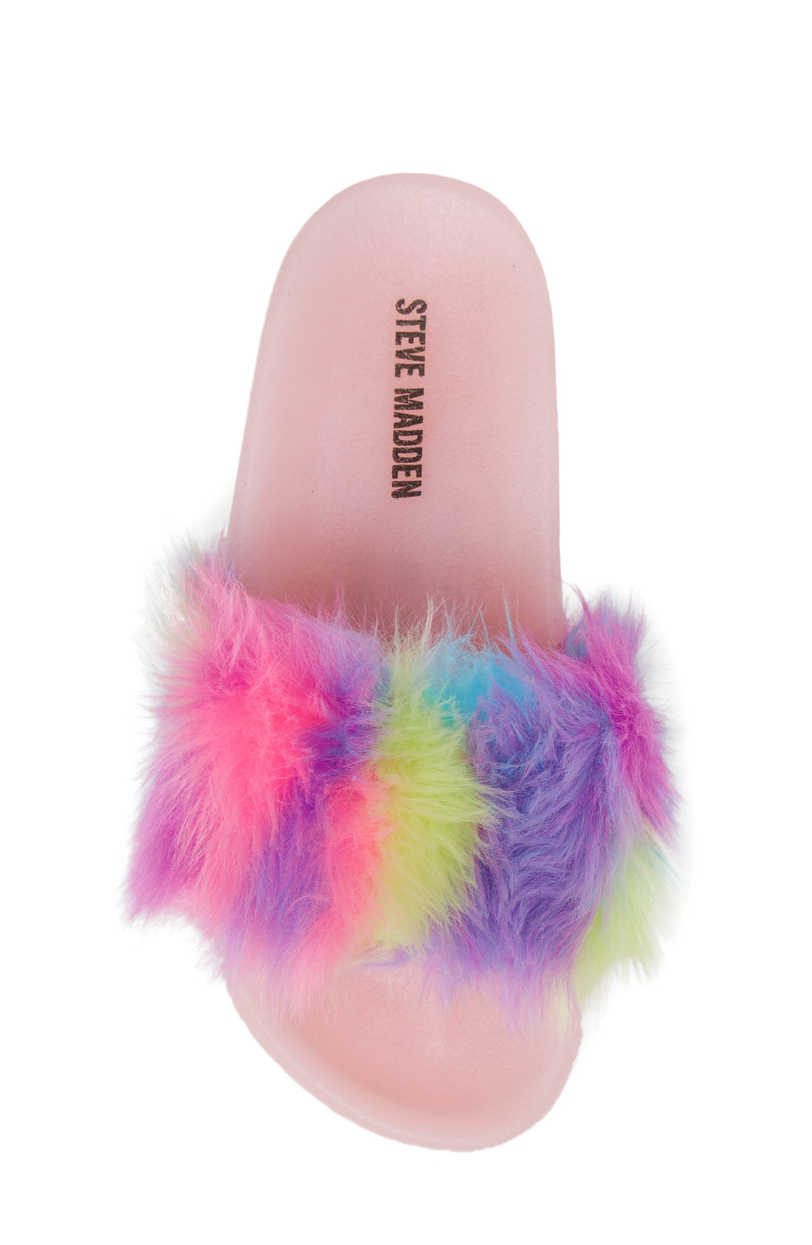 Jlights Faux Fur Light-Up Slide Sandal,                             Alternate thumbnail 5, color,                             Multi