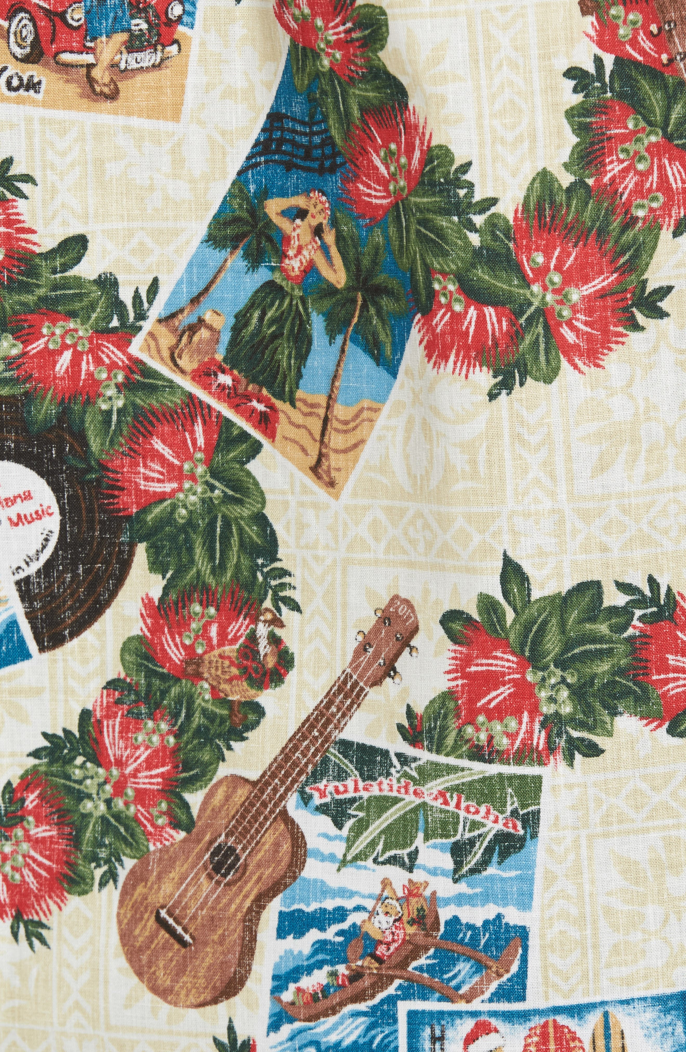 Hawaiian Christmas 2017 Sport Shirt,                             Alternate thumbnail 5, color,                             Natural