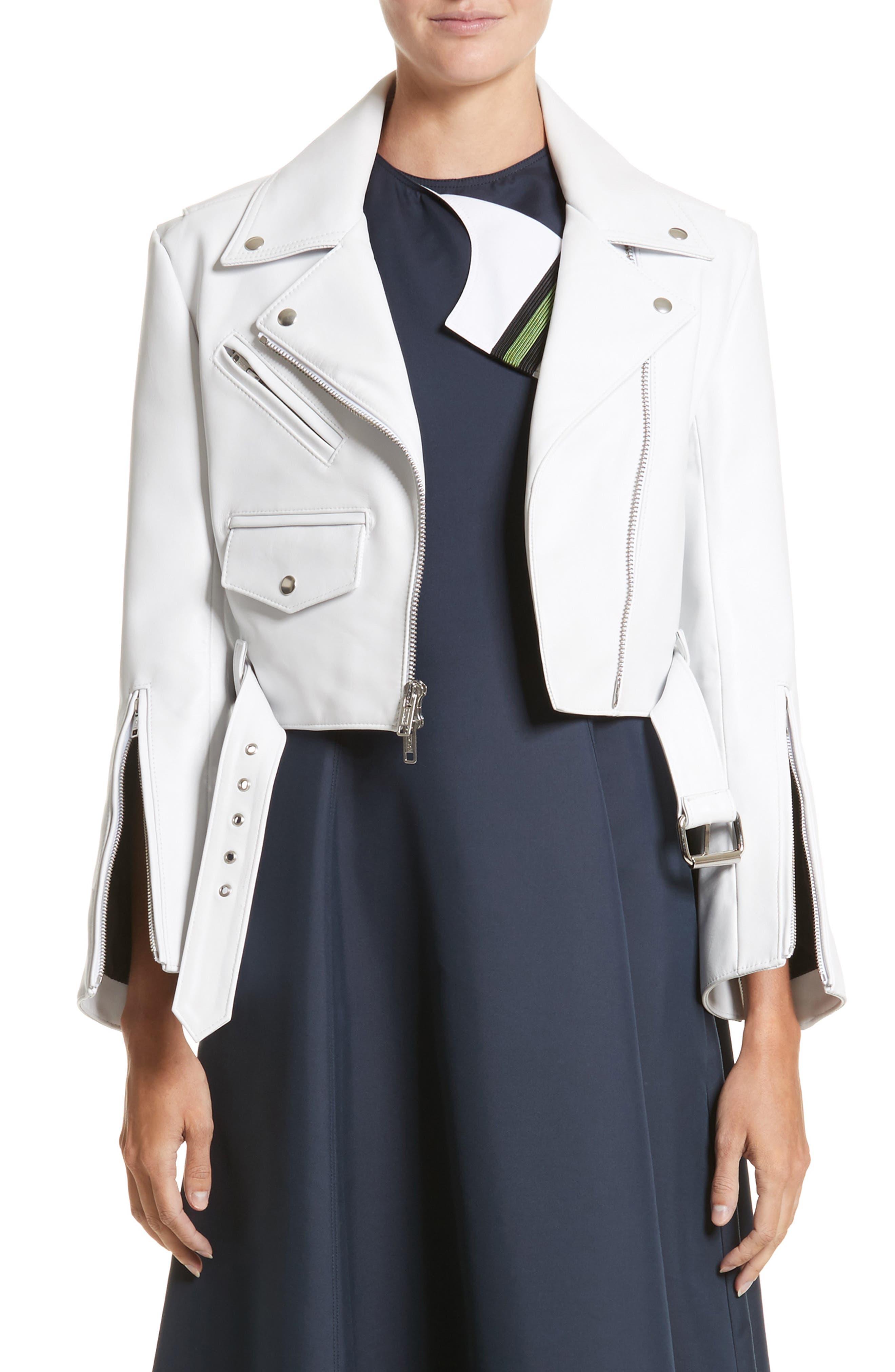 Plongé Leather Crop Moto Jacket,                         Main,                         color, White