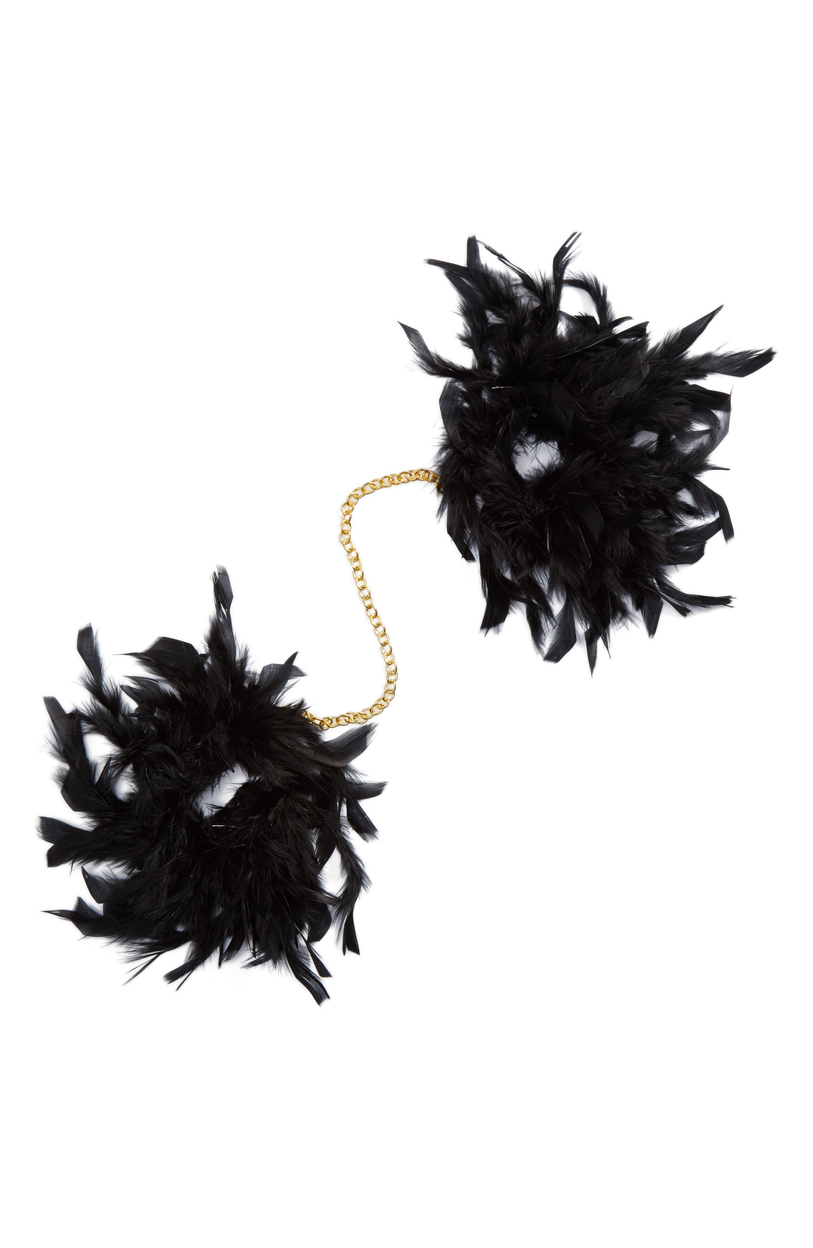 Feather Faux Handcuffs,                         Main,                         color, Black