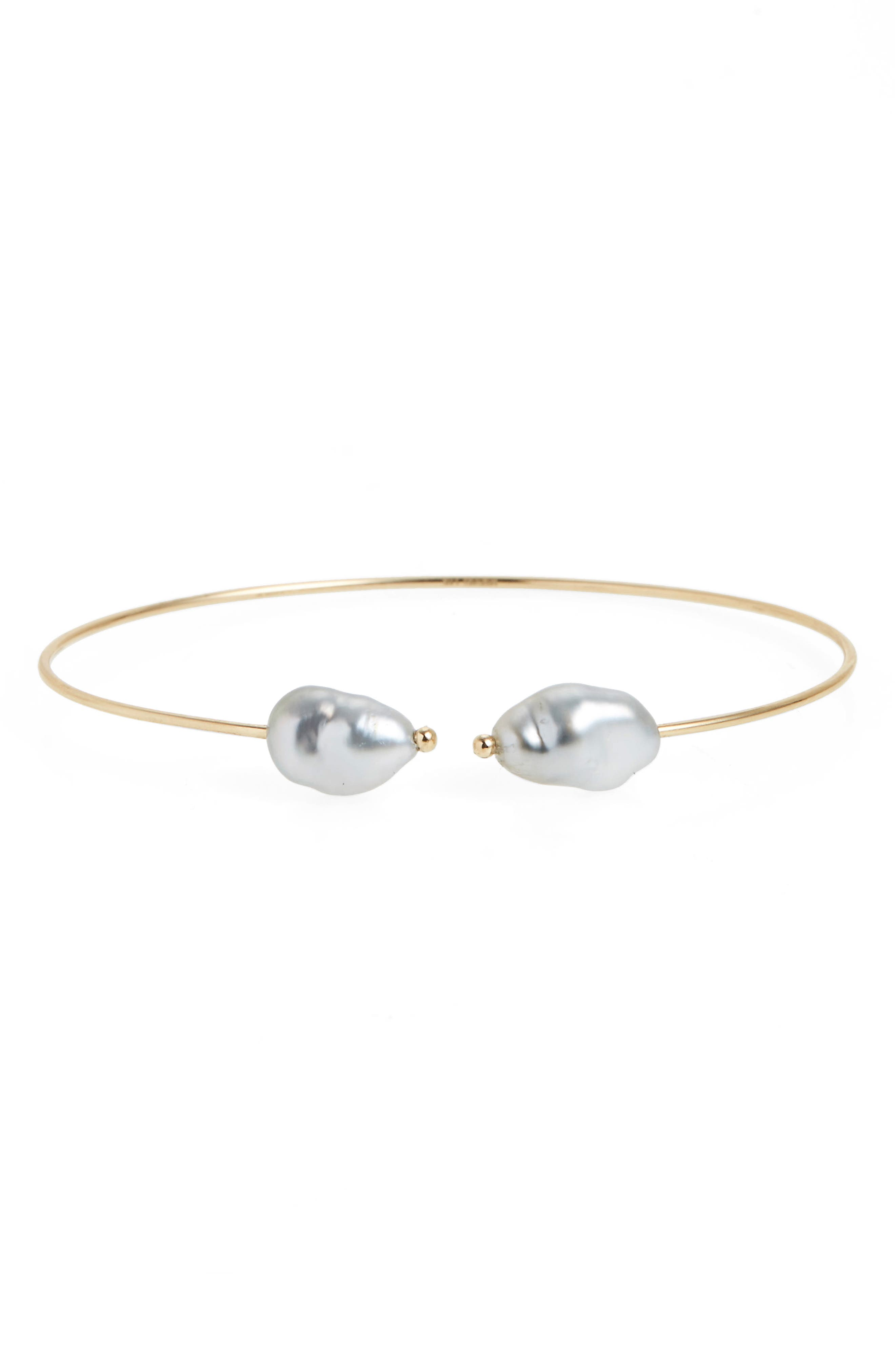 Keshi Pearl Station Cuff,                         Main,                         color, Yellow Gold/ Grey Pearl
