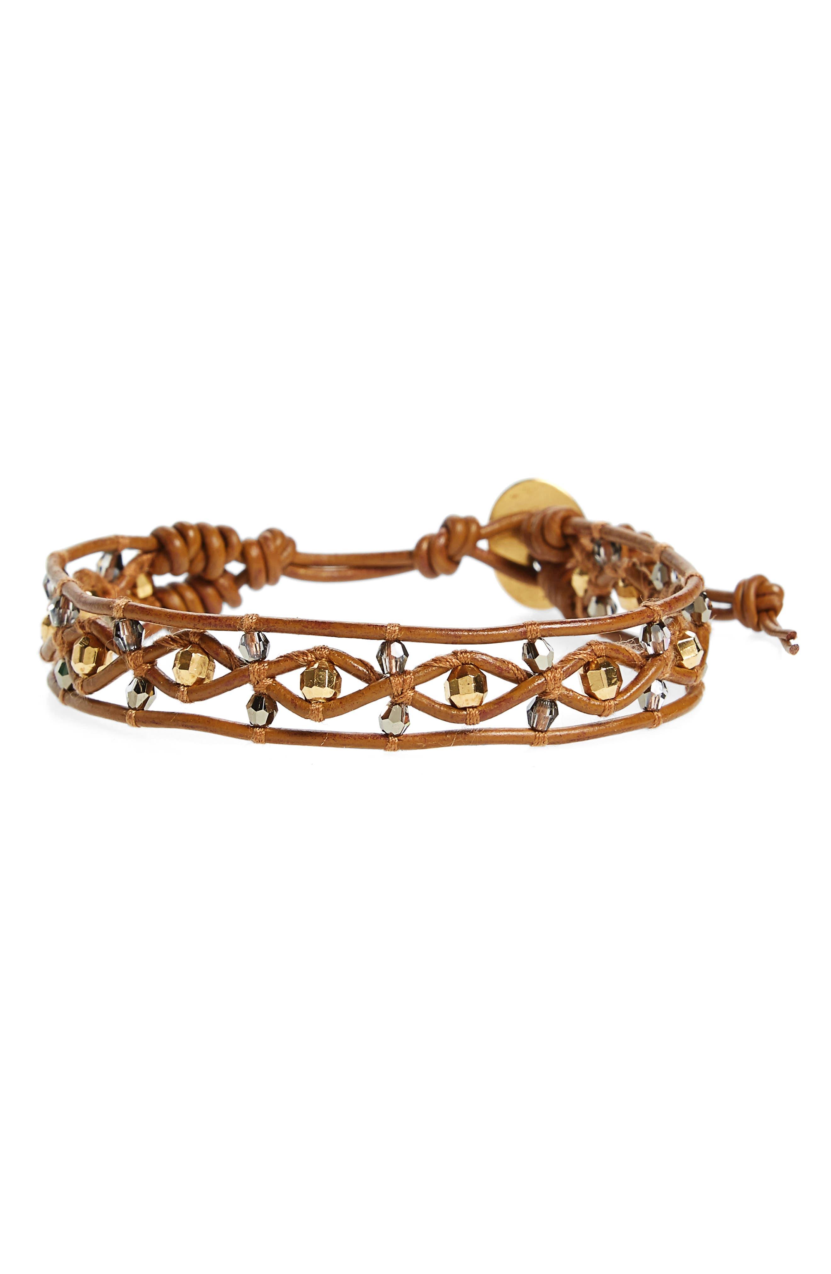 Beaded Leather Bracelet,                             Main thumbnail 1, color,                             Gold