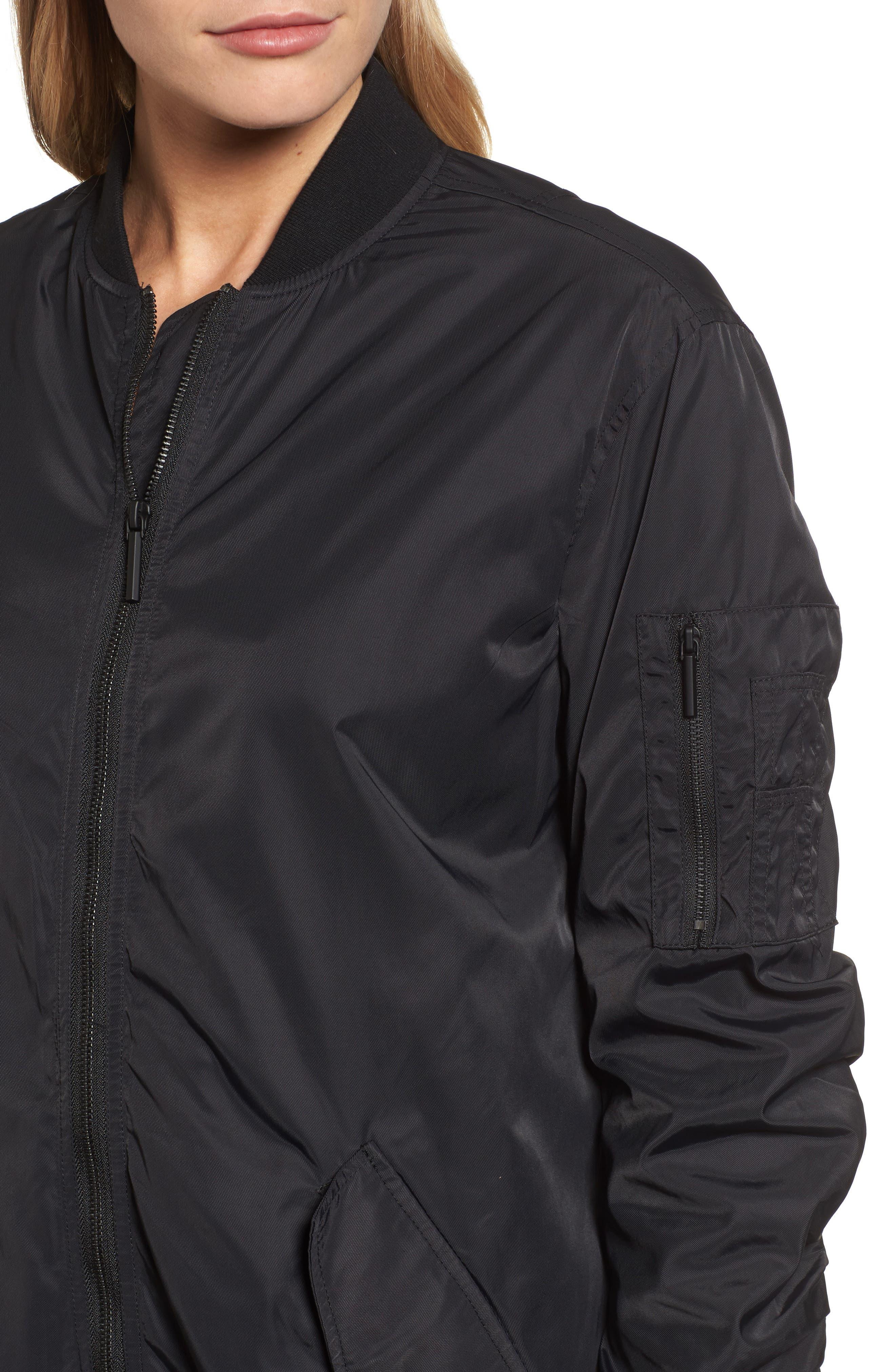 Bomber Anorak Jacket,                             Alternate thumbnail 4, color,                             Black