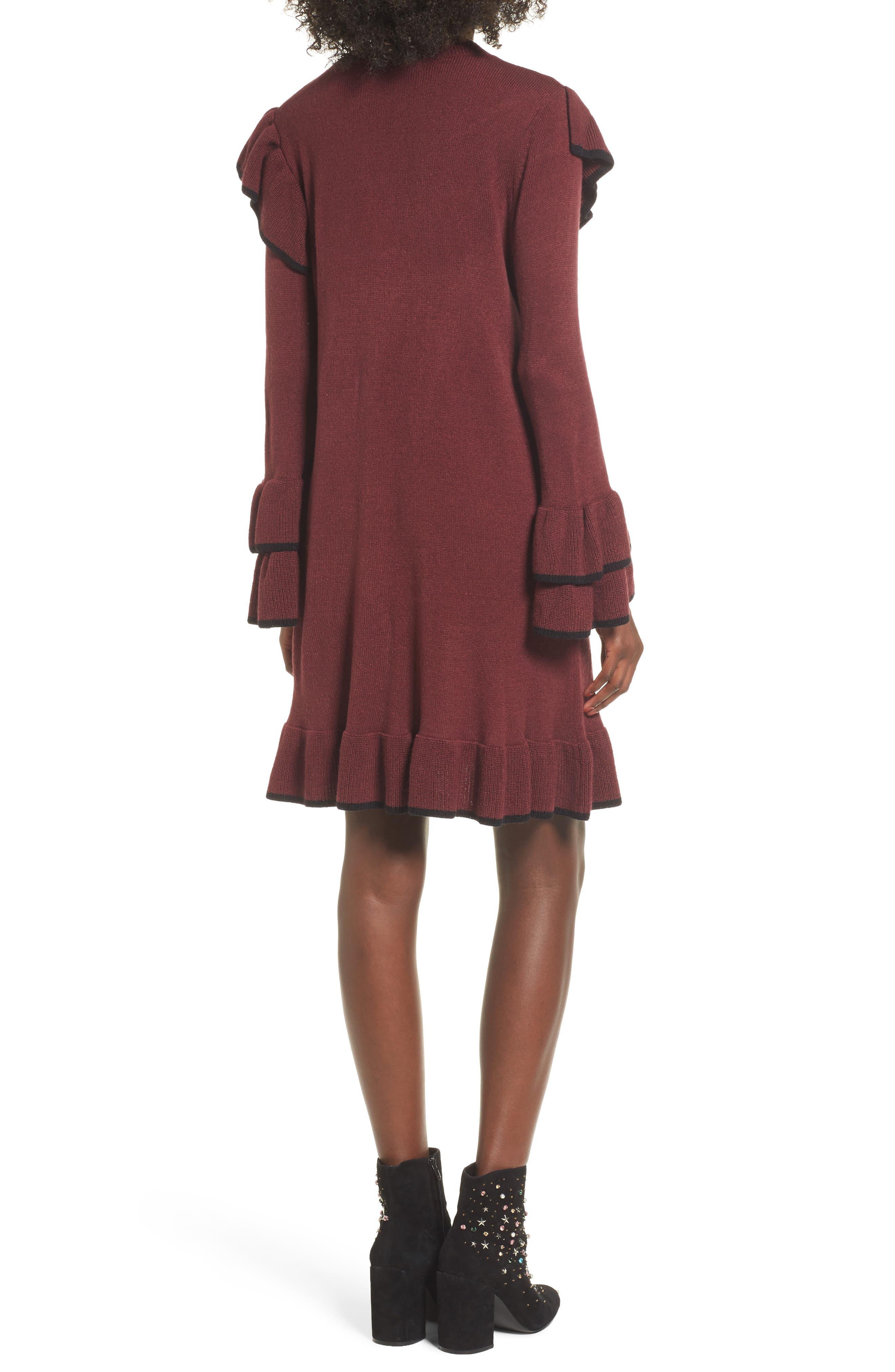 Ruffle Knit Sweater Dress,                             Alternate thumbnail 2, color,                             Burgundy Royale