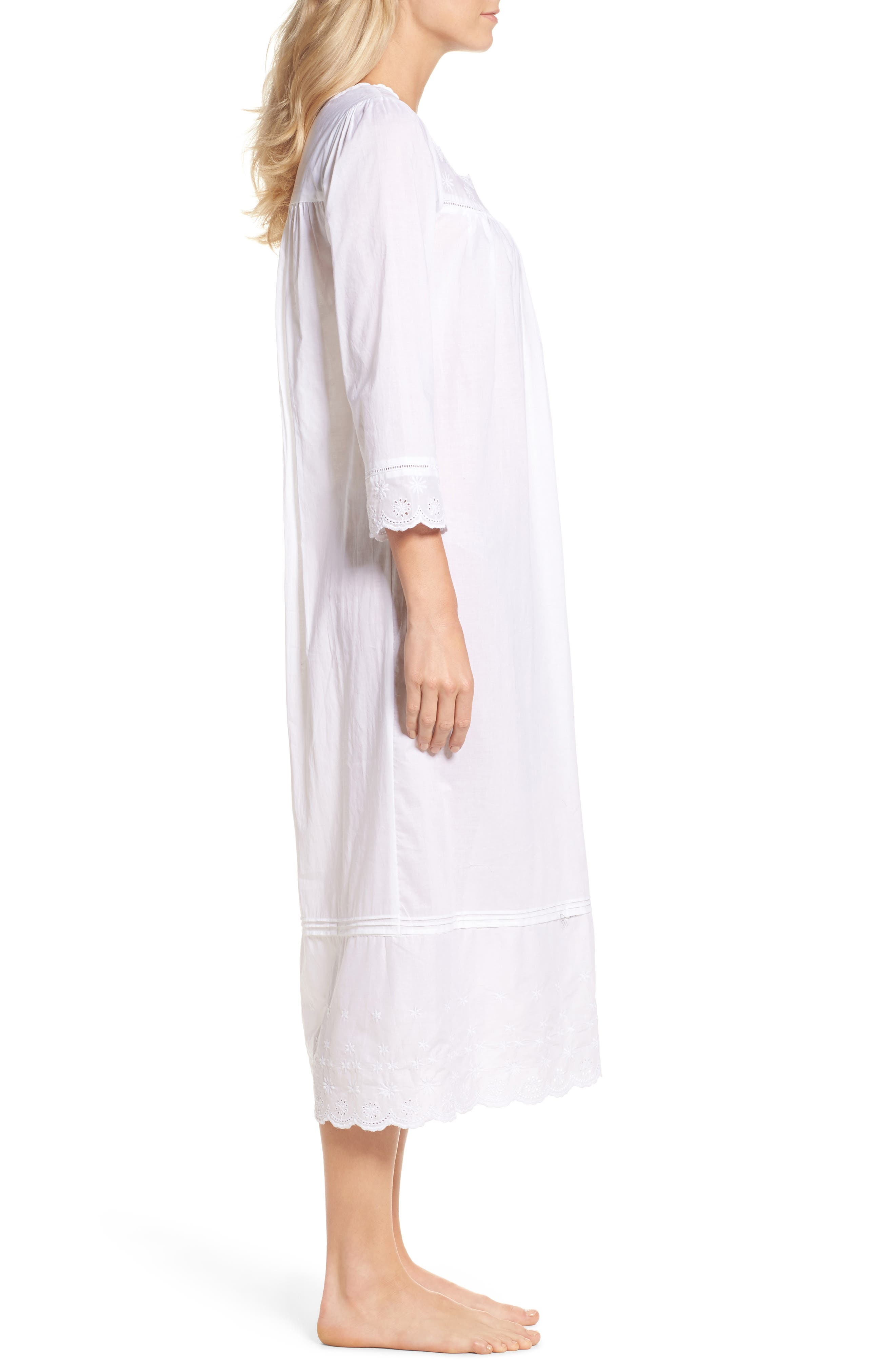 Eyelet Nightgown,                             Alternate thumbnail 3, color,                             White Floral