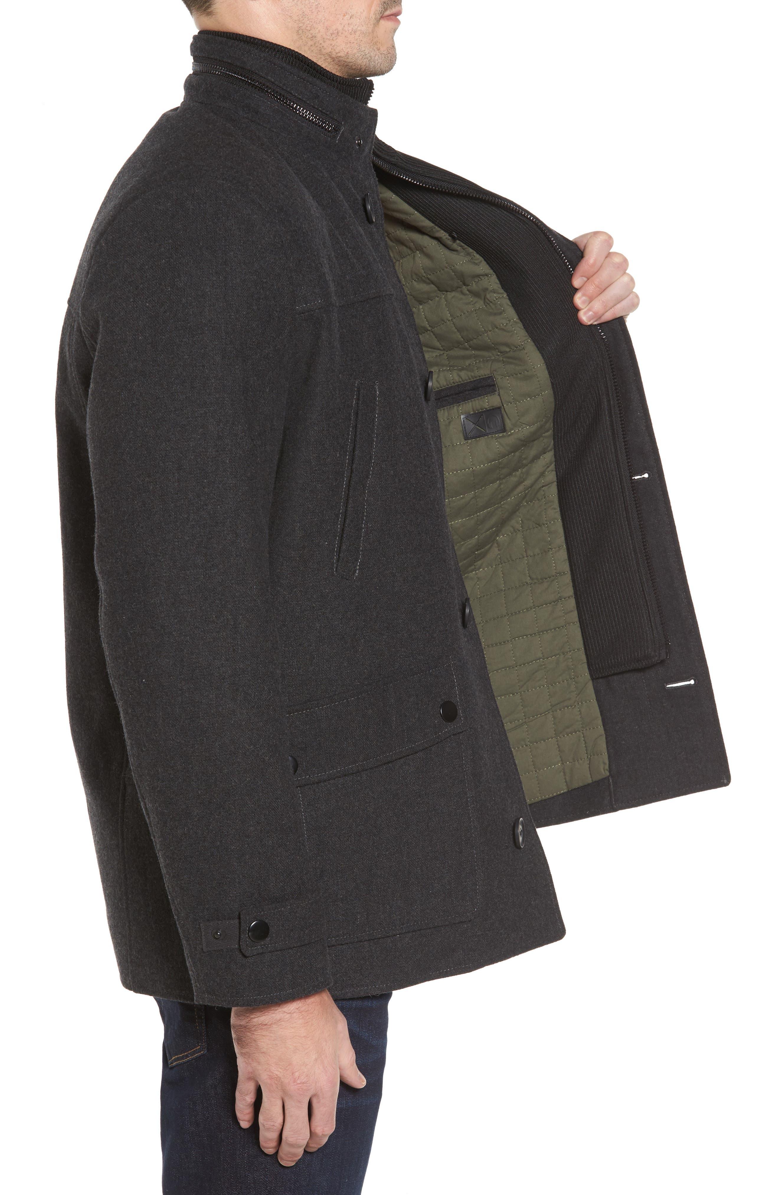 Button Front Coat,                             Alternate thumbnail 3, color,                             Charcoal