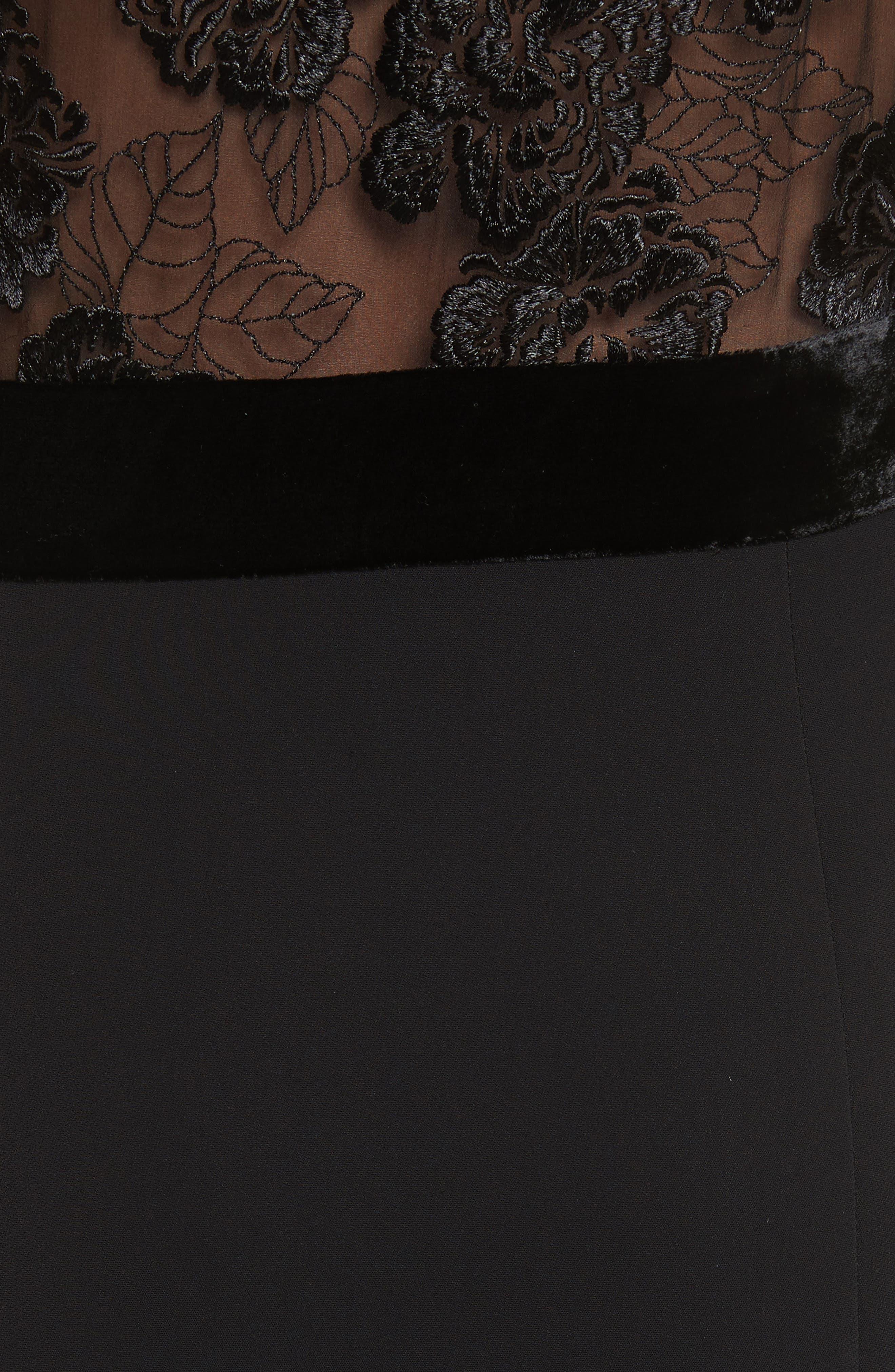 Harlow Velvet Button Dress,                             Alternate thumbnail 5, color,                             Black