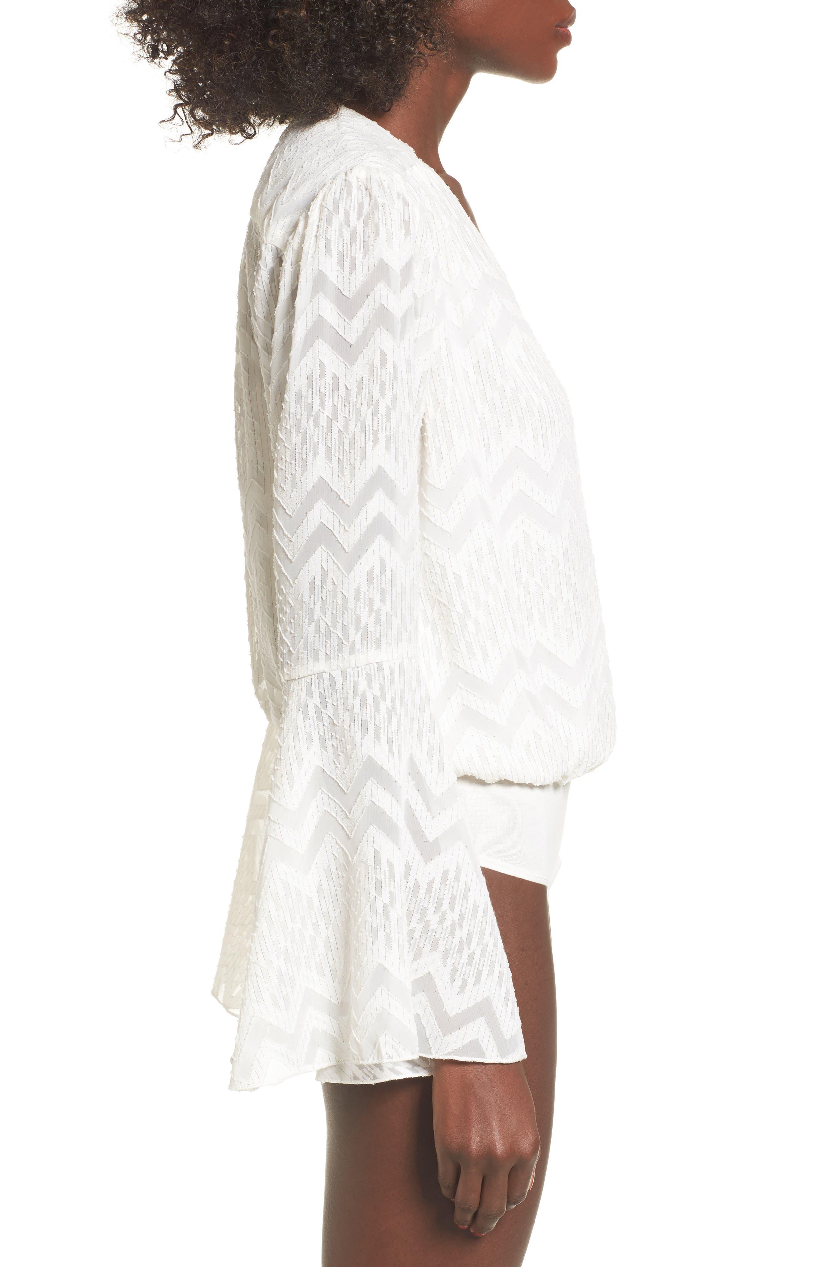 Christi Bell Sleeve Bodysuit,                             Alternate thumbnail 3, color,                             Ivory Clip