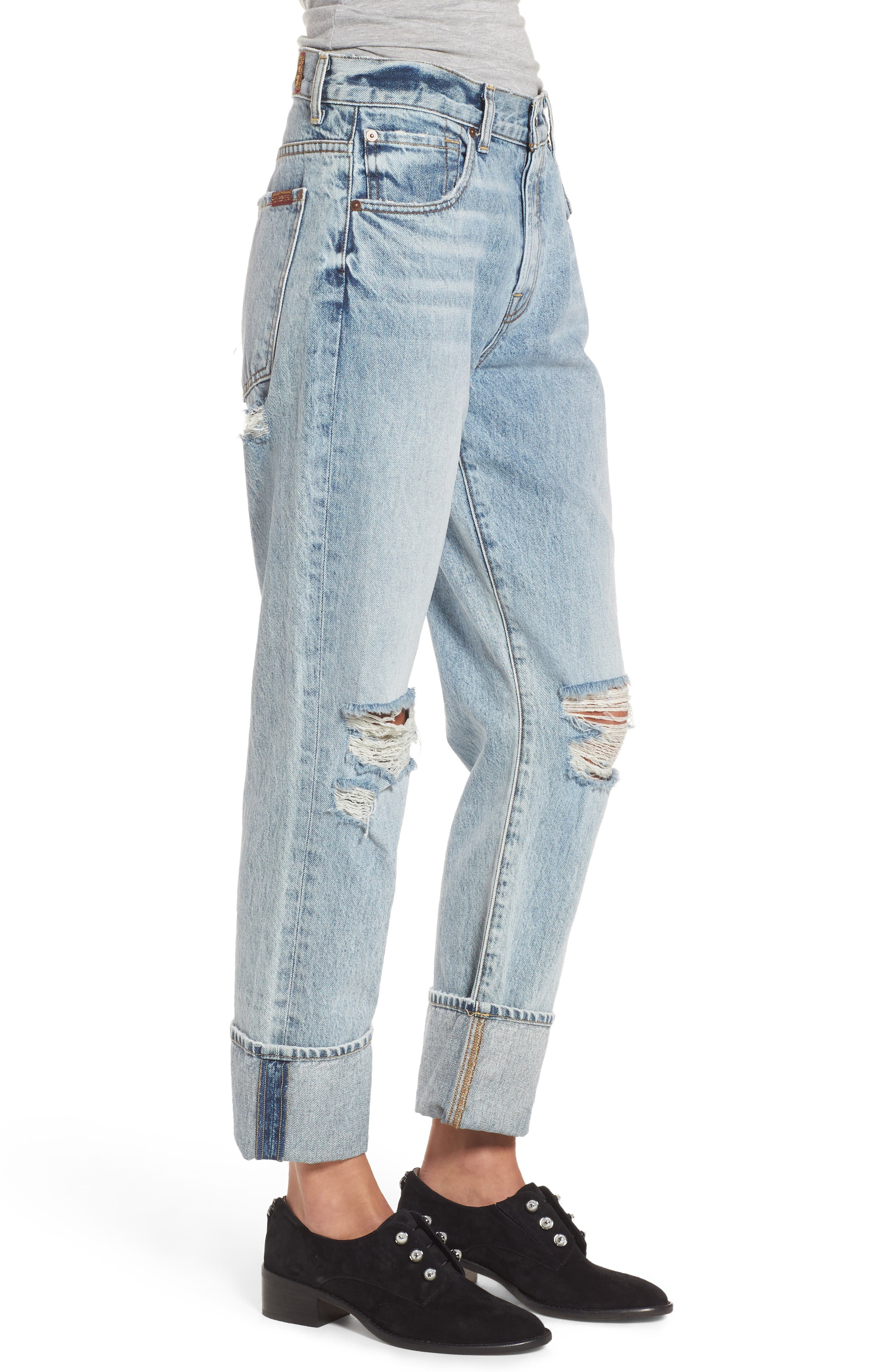 Rickie High Waist Boyfriend Jeans,                             Alternate thumbnail 4, color,                             Mineral Desert Springs 3