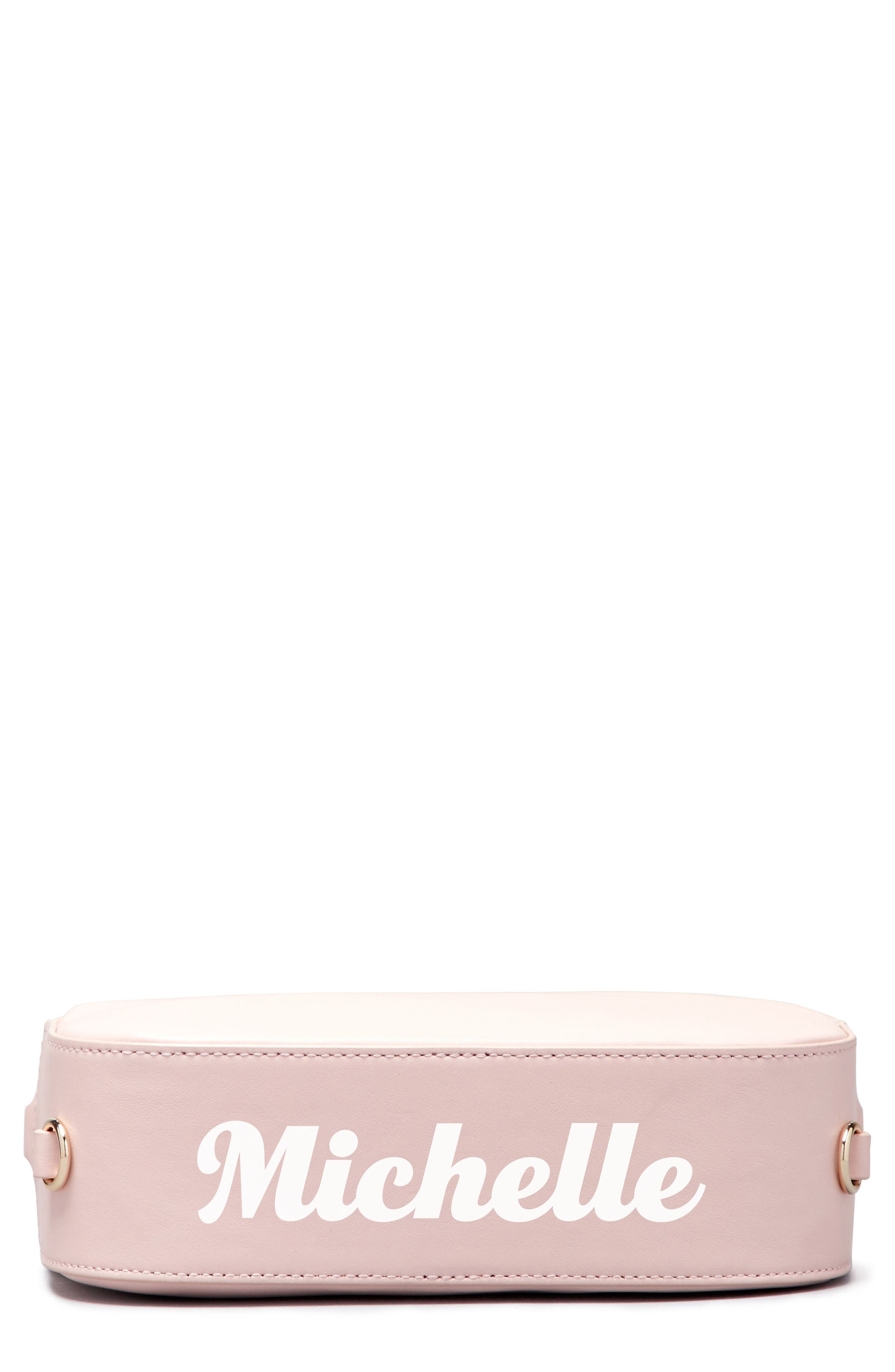 Personalized Leather Camera Bag,                             Alternate thumbnail 3, color,                             Cotton Candy/ White