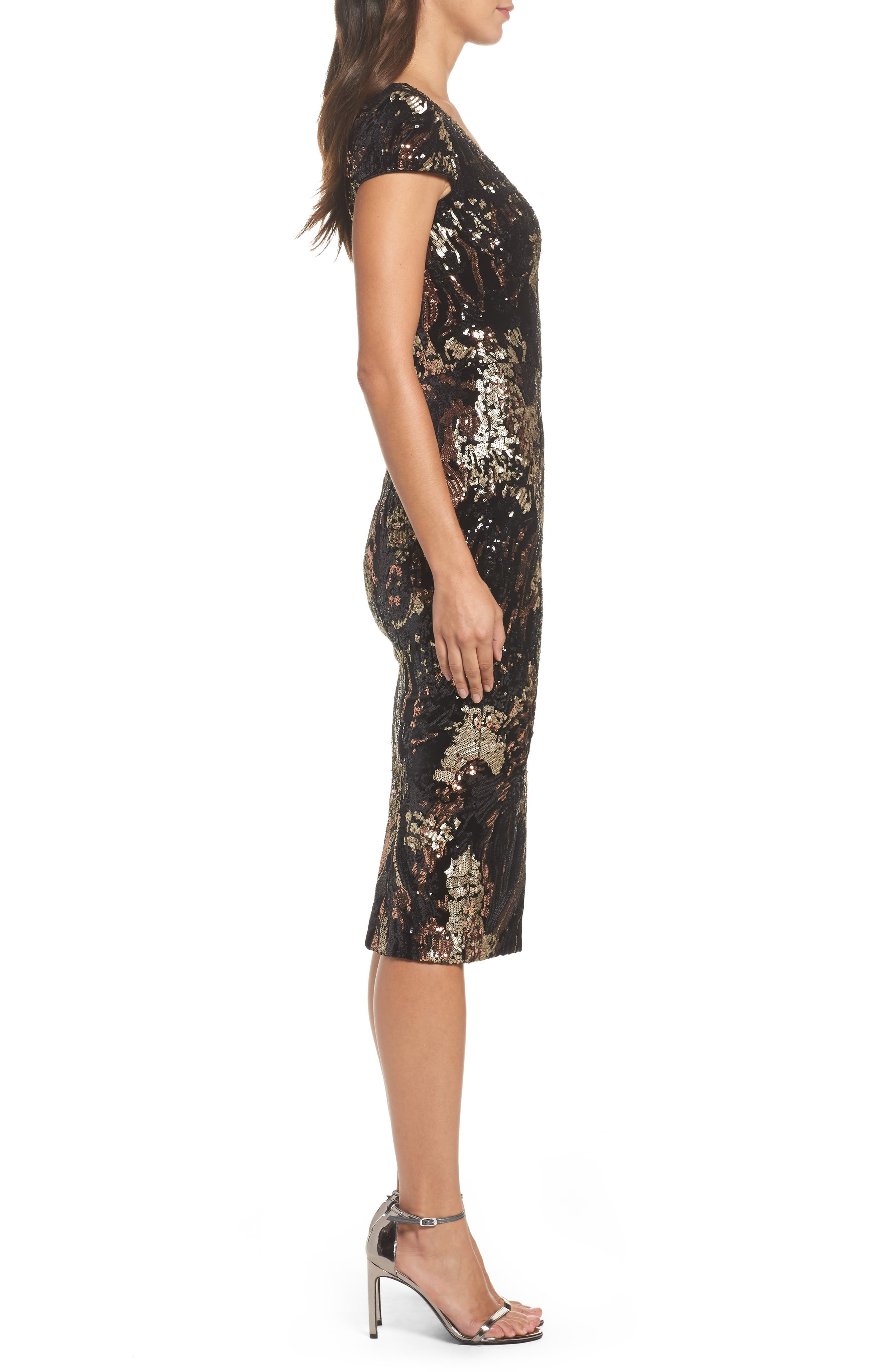 Allison Sequin Velvet Body-Con Dress,                             Alternate thumbnail 4, color,                             Black/ Bronze