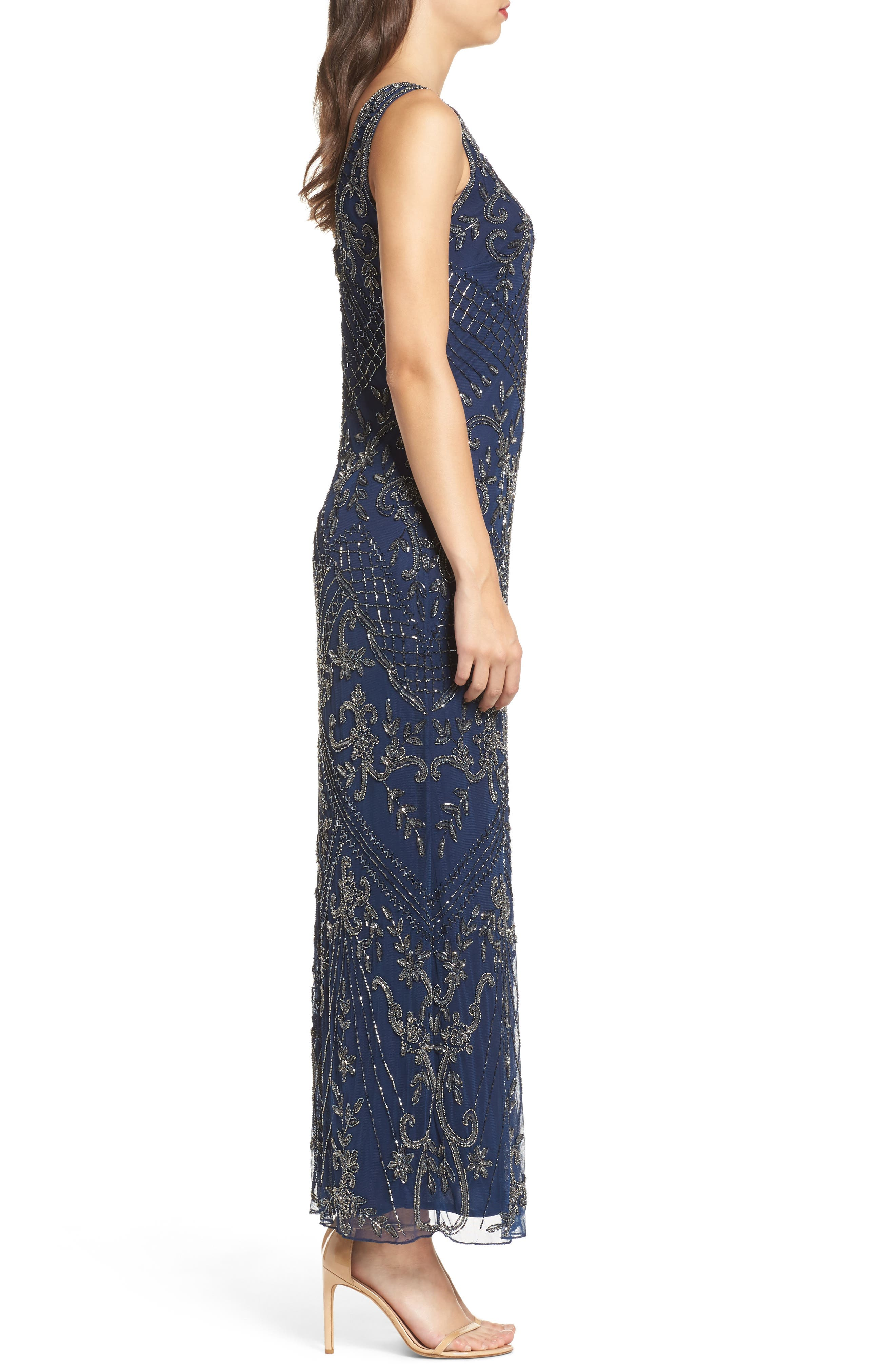 Embroidered Mesh Gown,                             Alternate thumbnail 3, color,                             Navy/ Mercury