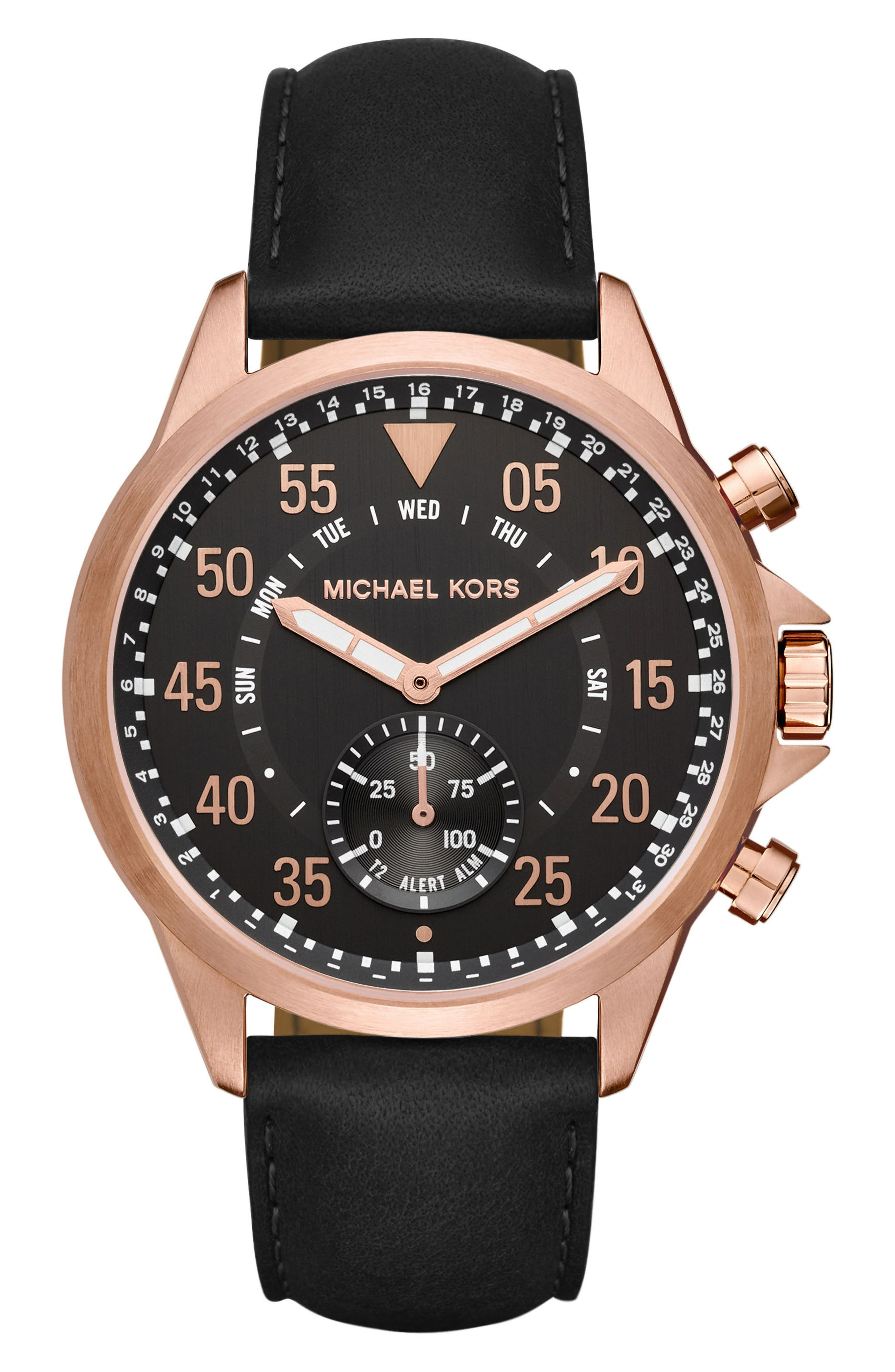 Michael Kors Gage Leather Strap Smart Watch, 45mm,                             Main thumbnail 1, color,                             Black/ Rose Gold