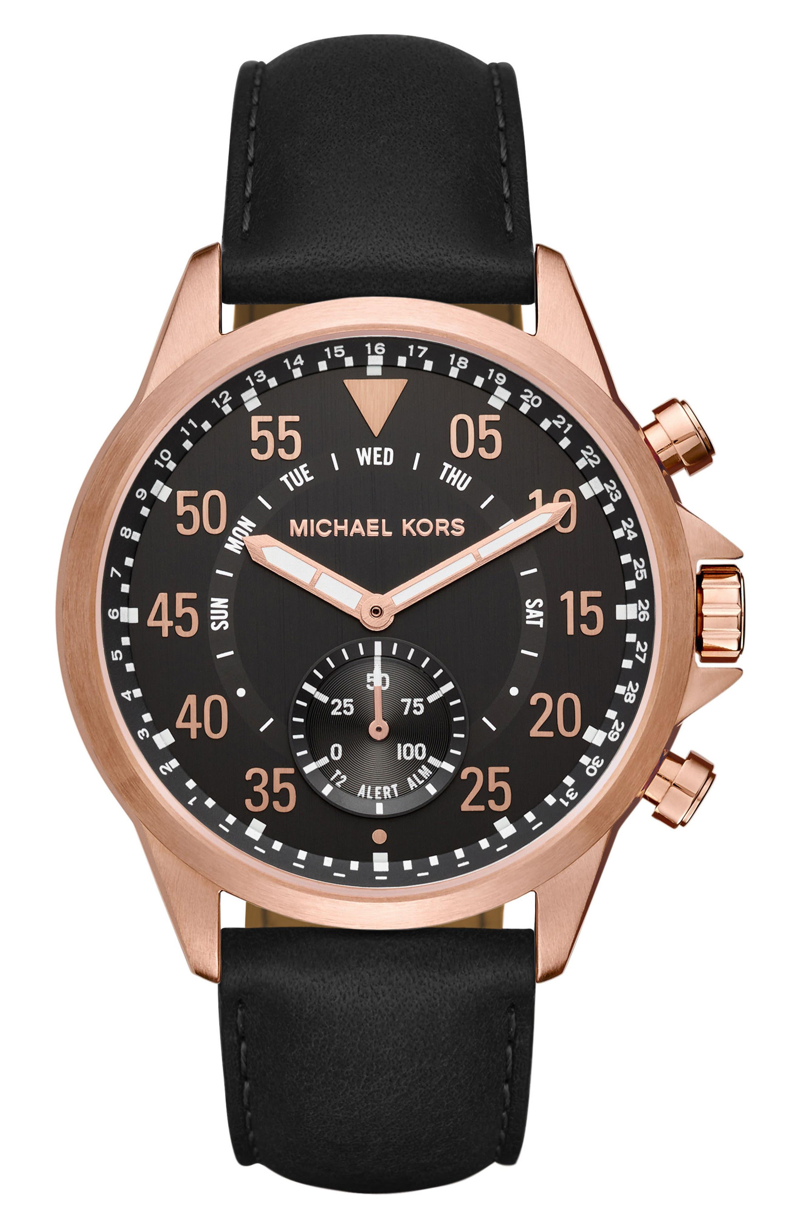 Michael Kors Gage Leather Strap Smart Watch, 45mm,                         Main,                         color, Black/ Rose Gold