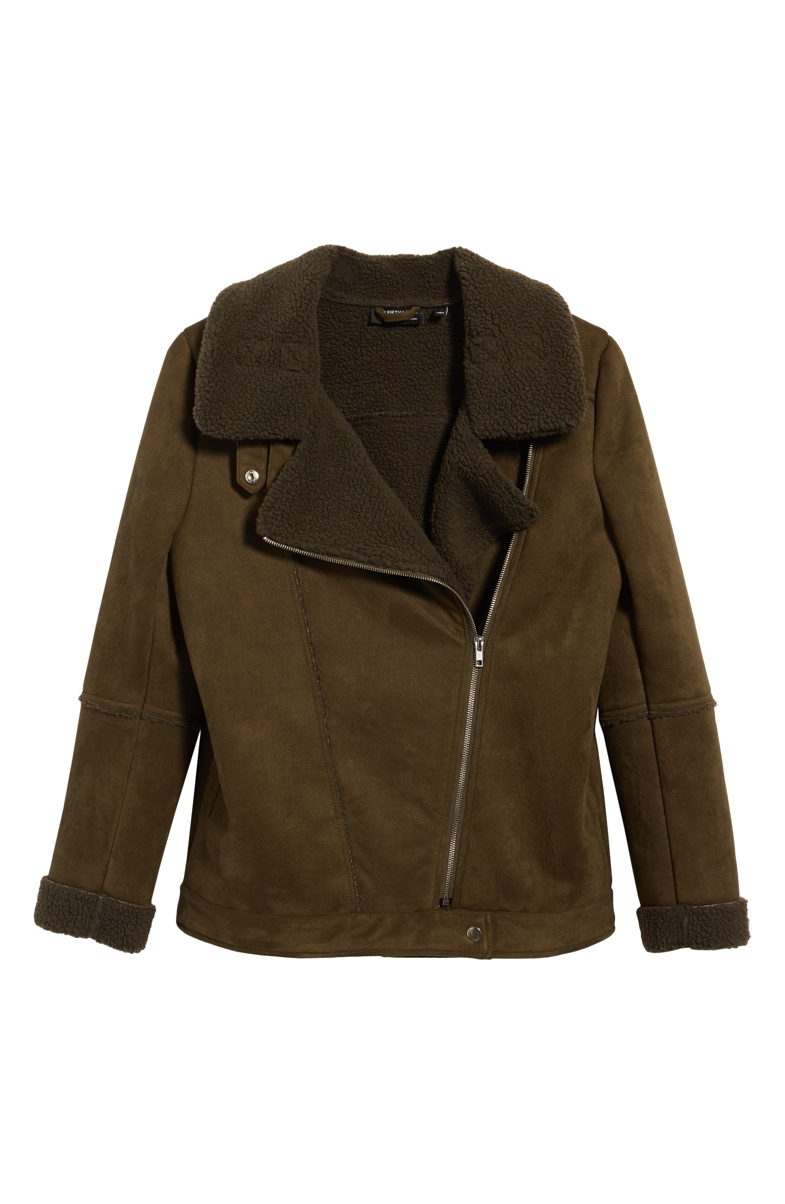 Dallas Faux Shearling Jacket,                             Alternate thumbnail 7, color,                             Olive