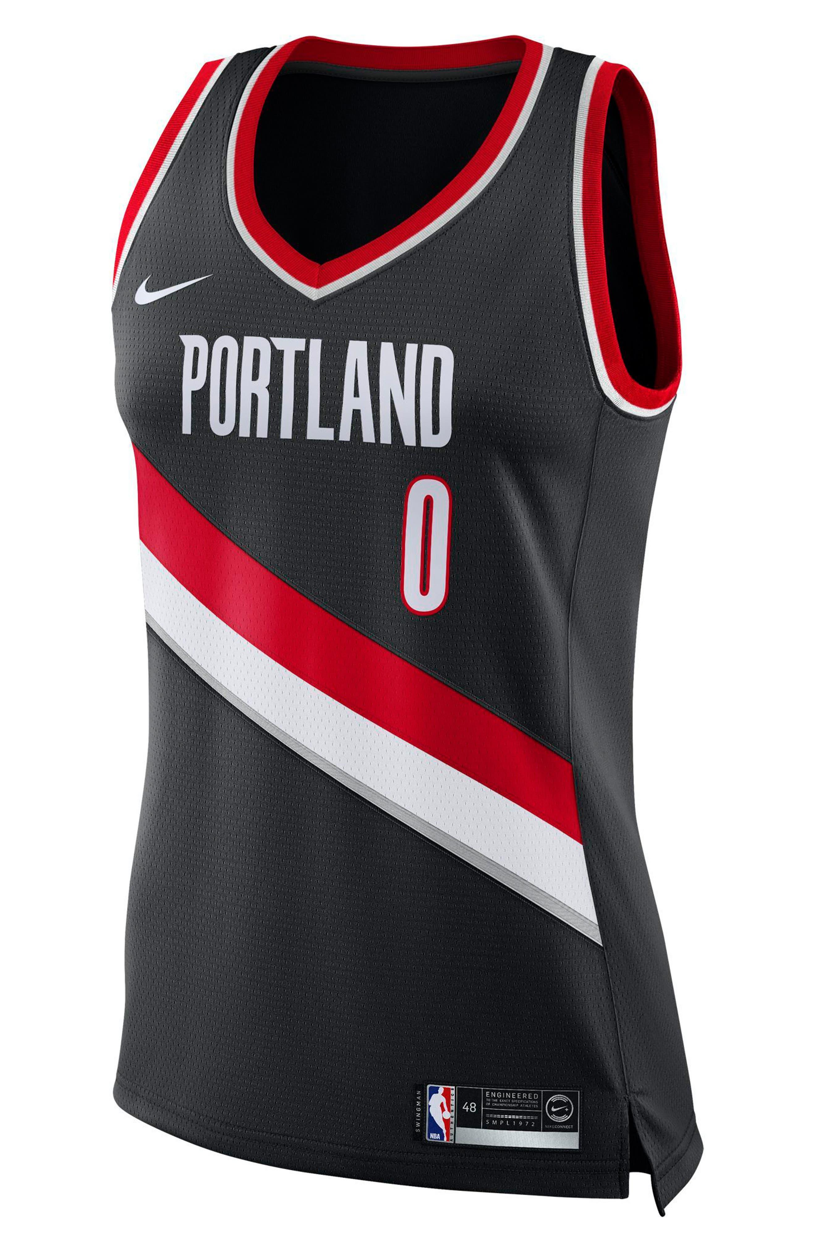 Portland Trail Blazers Icon Edition Swingman Women's NBA Jersey,                         Main,                         color, Black