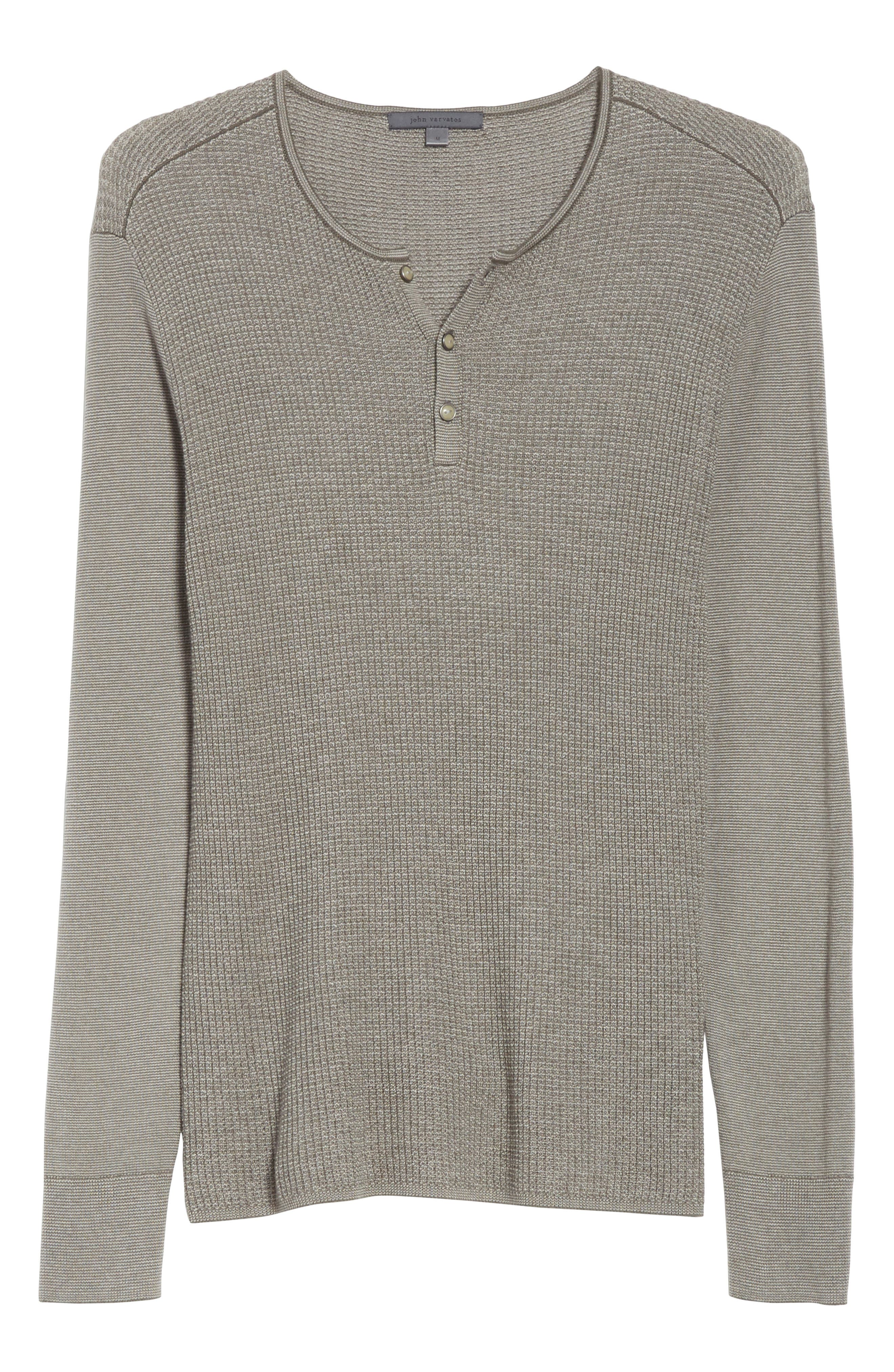 Waffle Knit Silk & Cashmere Henley Sweater,                             Alternate thumbnail 6, color,                             Sage