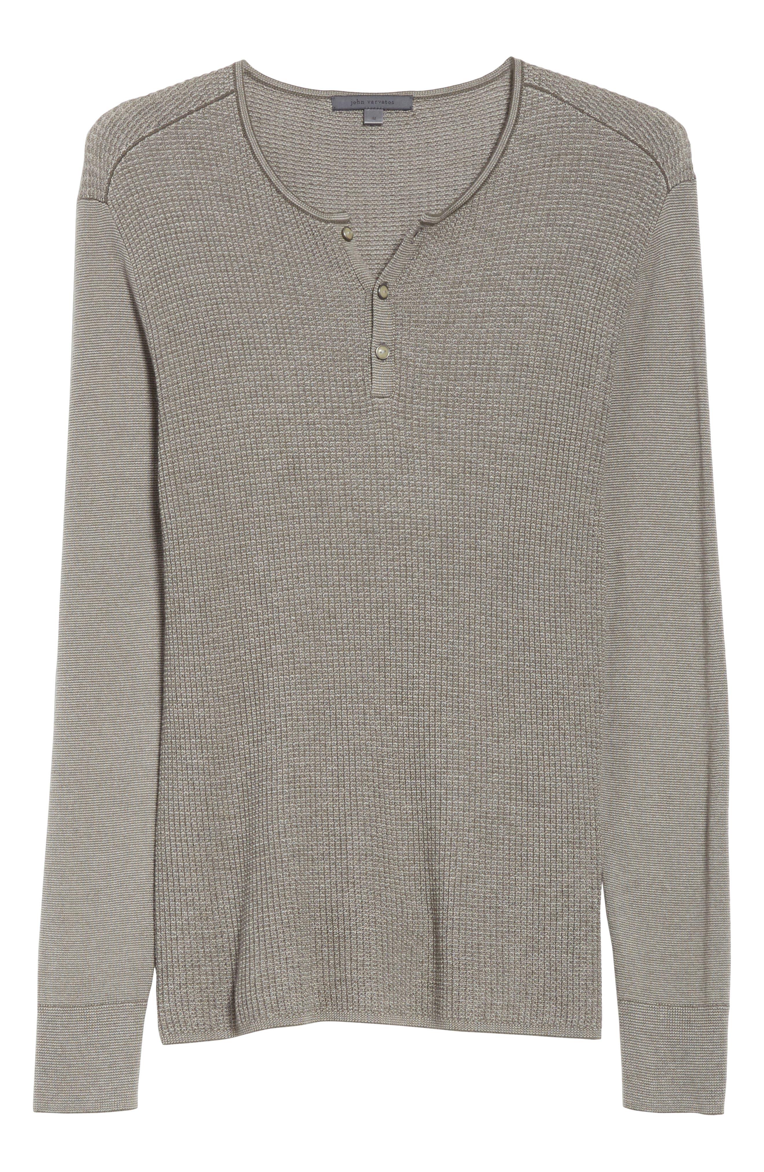 Alternate Image 6  - John Varvatos Collection Waffle Knit Silk & Cashmere Henley Sweater