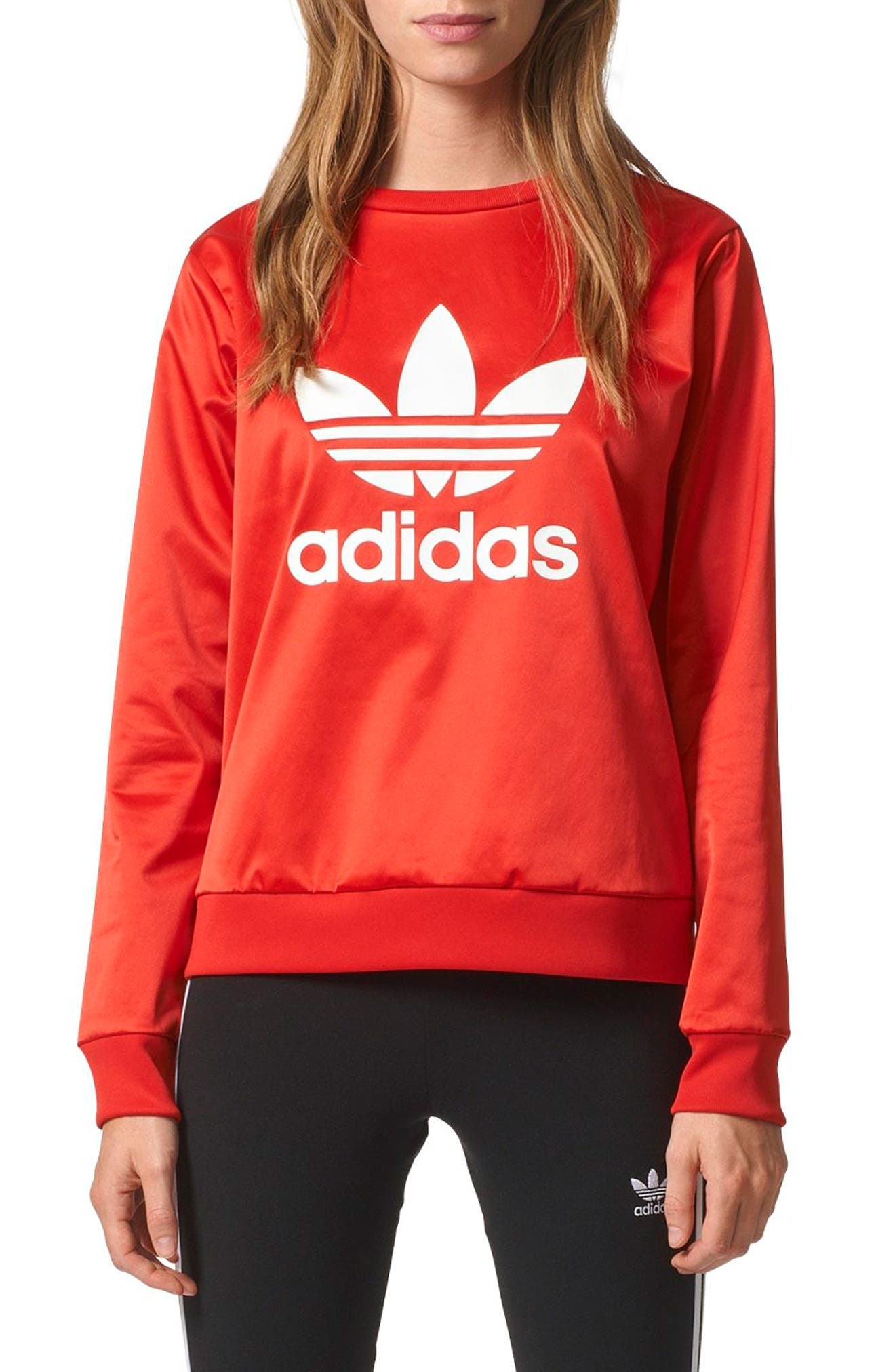 Trefoil Crewneck Sweater,                         Main,                         color, Vivid Red S13