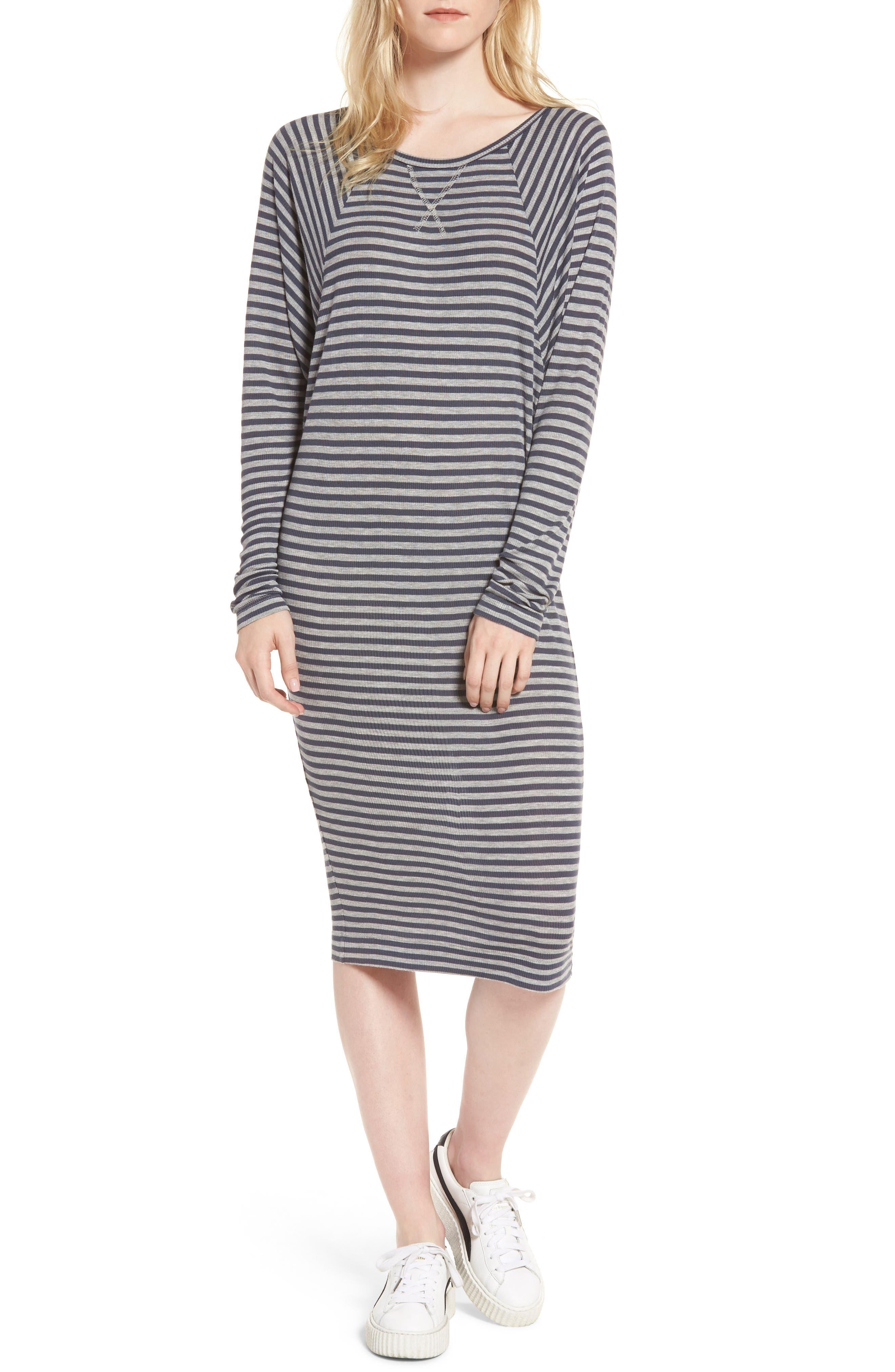 Raglan Midi Dress,                         Main,                         color, Blueberry/ Heather Grey