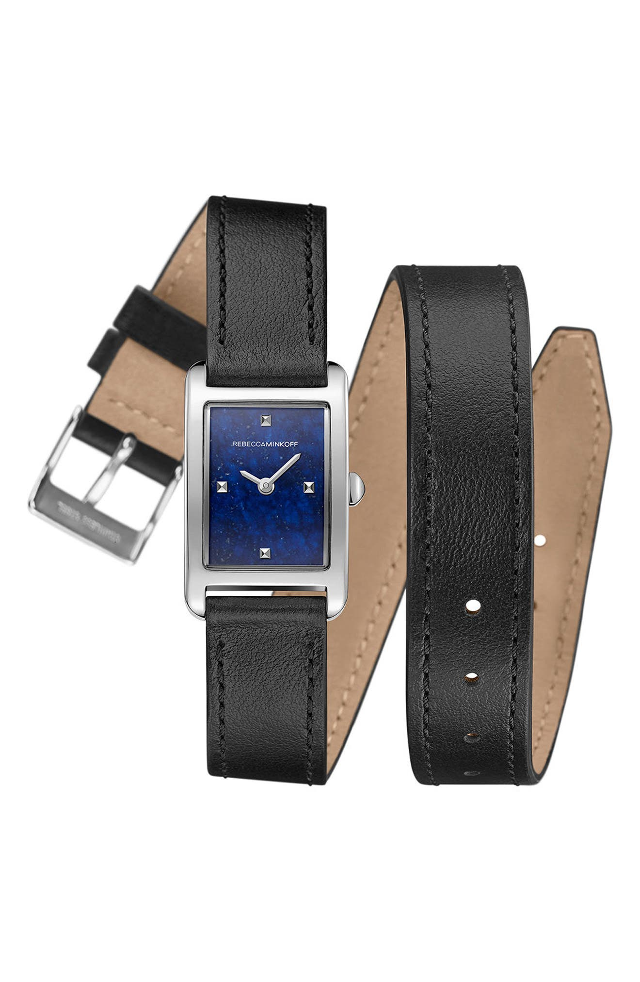 Moment Wrap Leather Strap Watch, 19mm x 30mm,                         Main,                         color, Black/ Lapis/ Silver