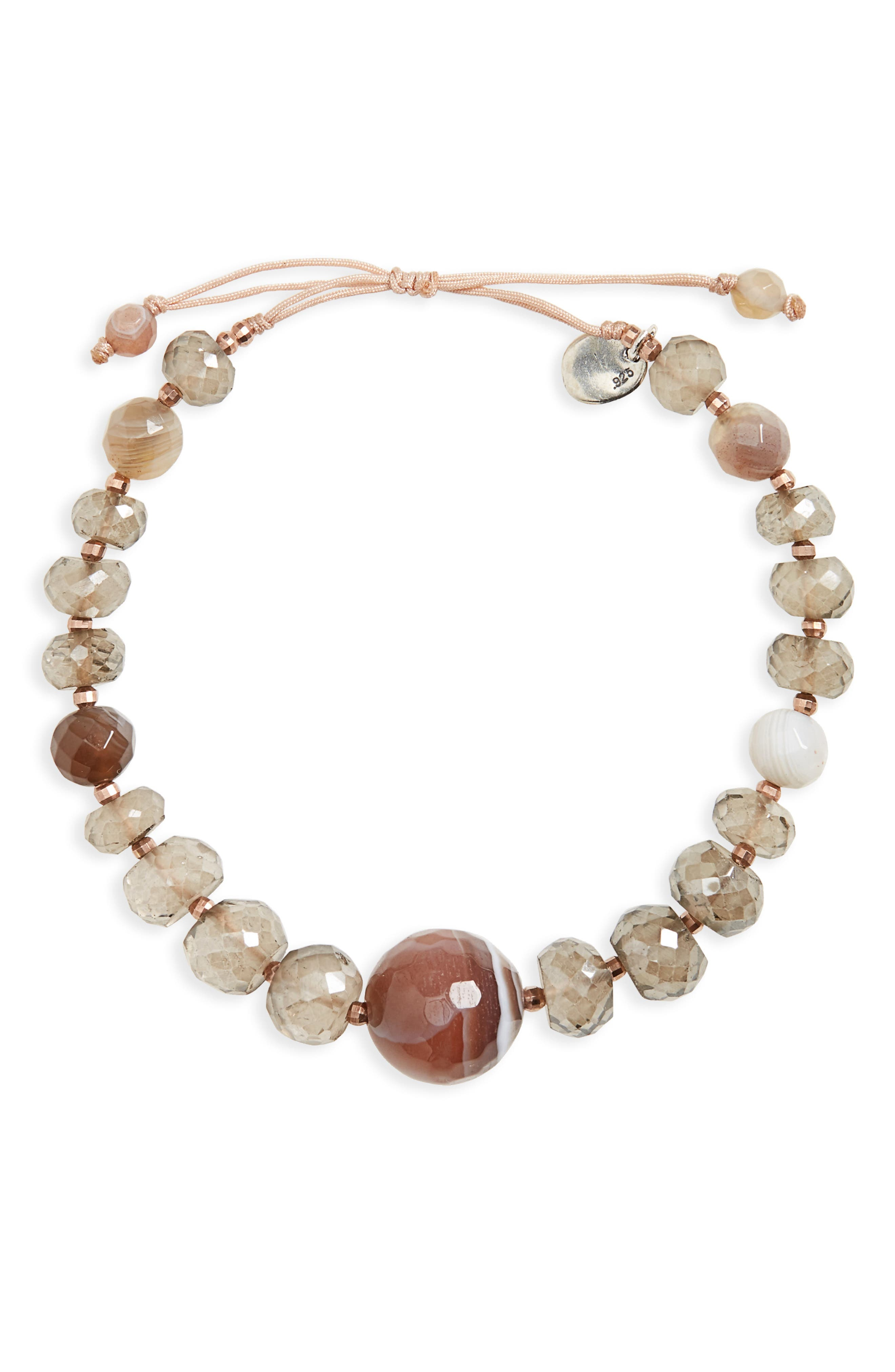 Semiprecious Stone Beaded Bracelet,                         Main,                         color, Mystic Smokey