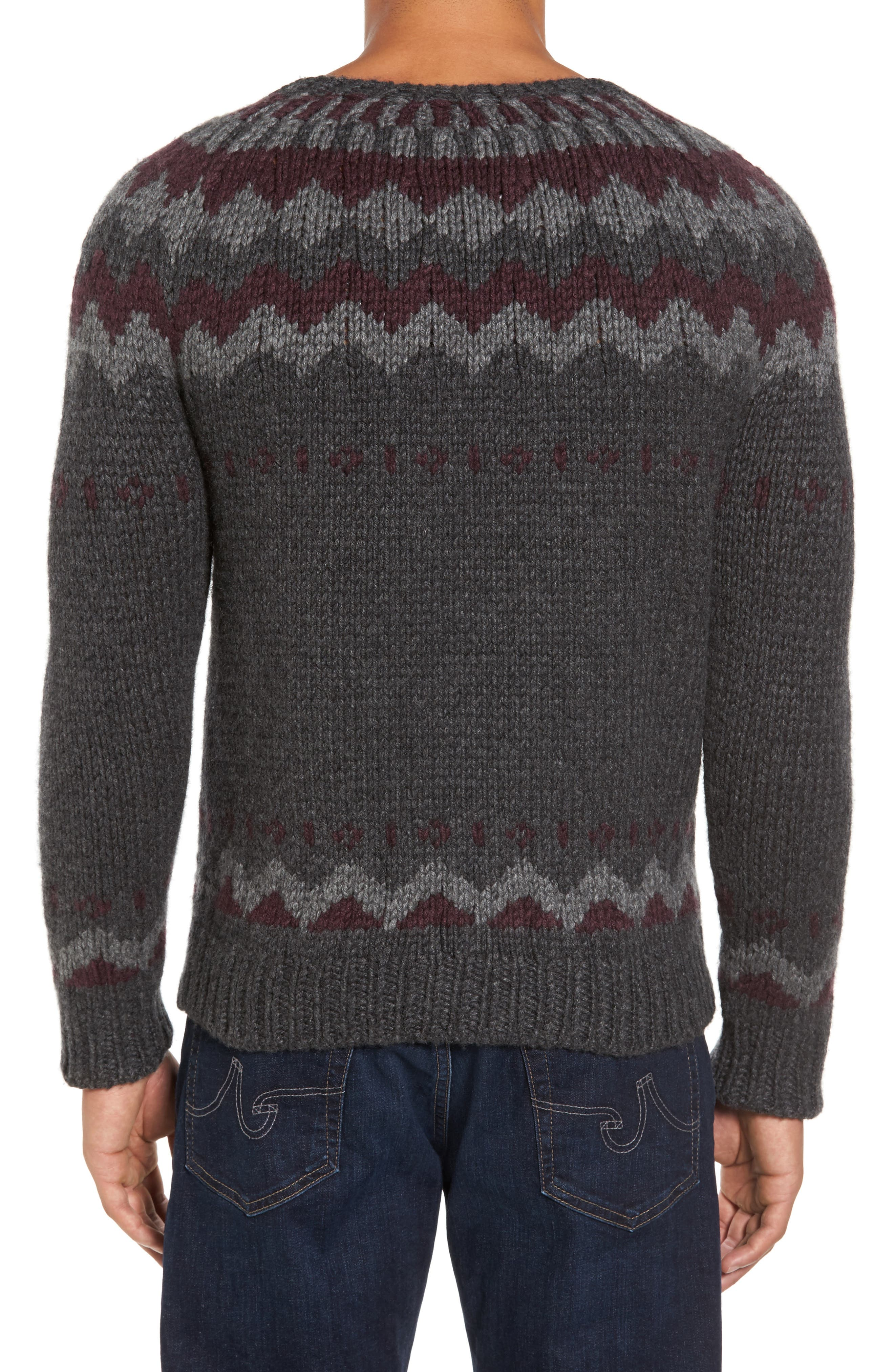Intarsia Cashmere Sweater,                             Alternate thumbnail 2, color,                             Grey / Burgundy/ Light Grey