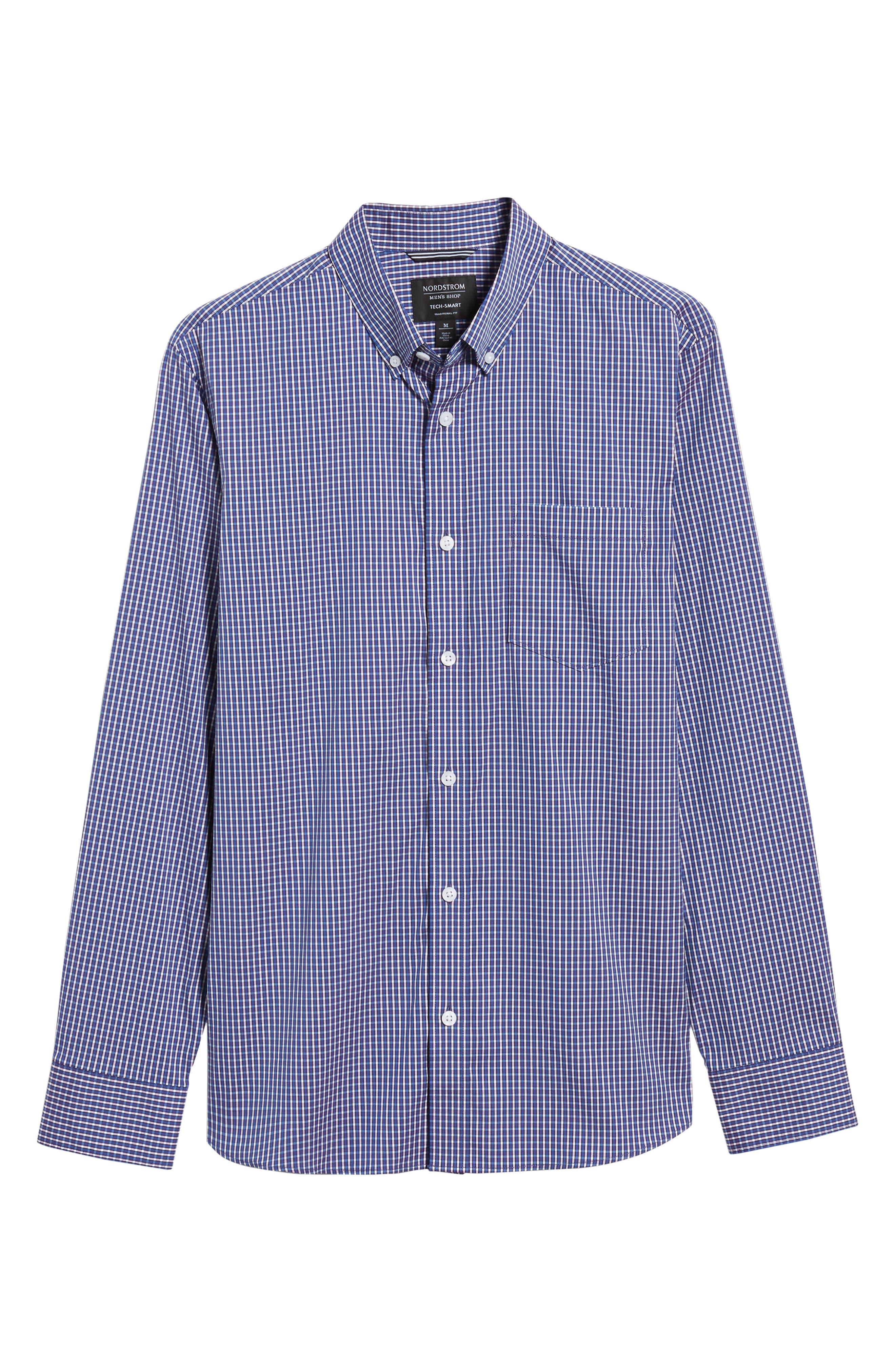 Alternate Image 6  - Nordstrom Men's Shop Tech-Smart Trim Fit Check Sport Shirt