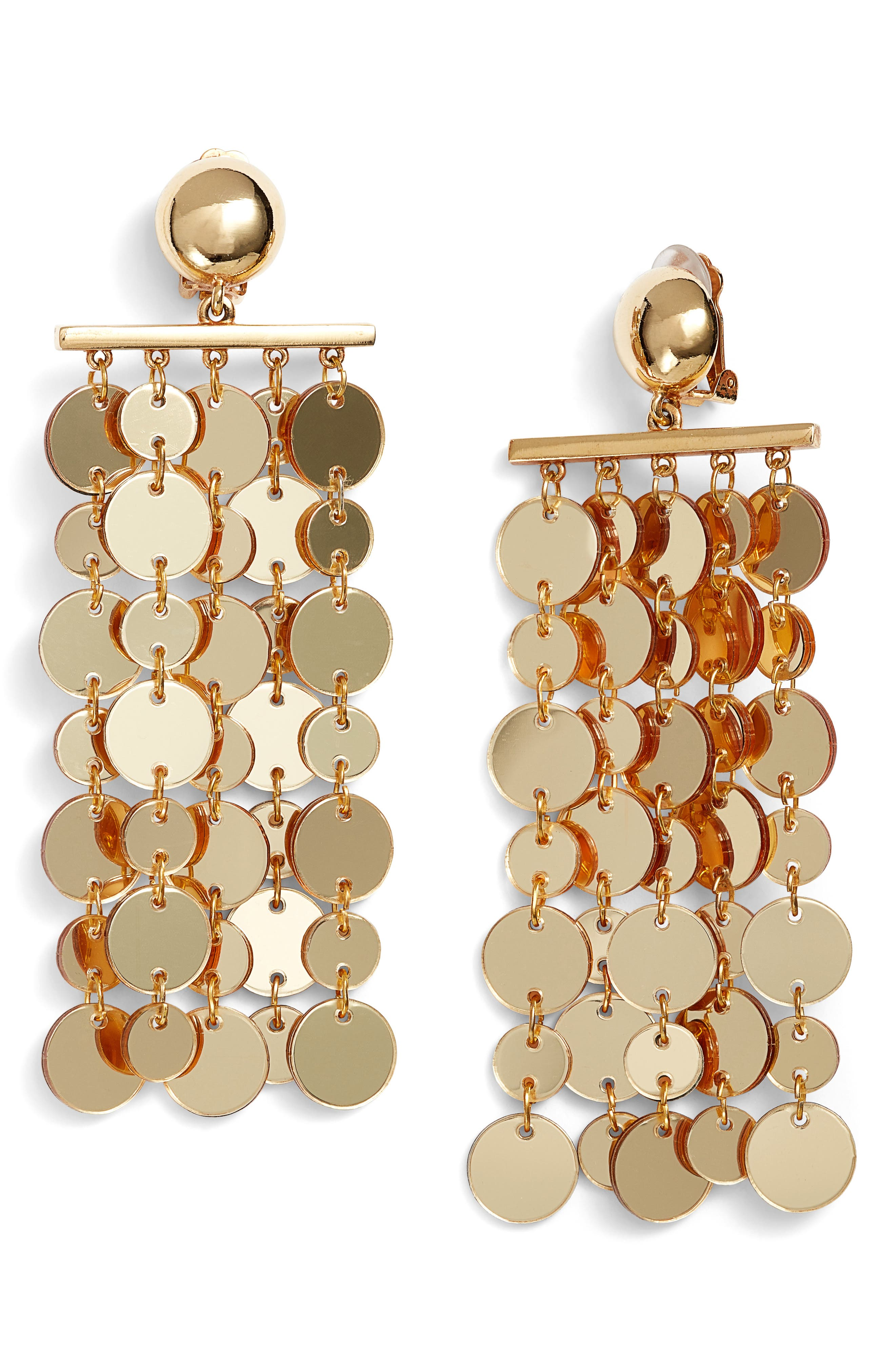 Oscar de la Renta Hammered Disc Clip Earrings