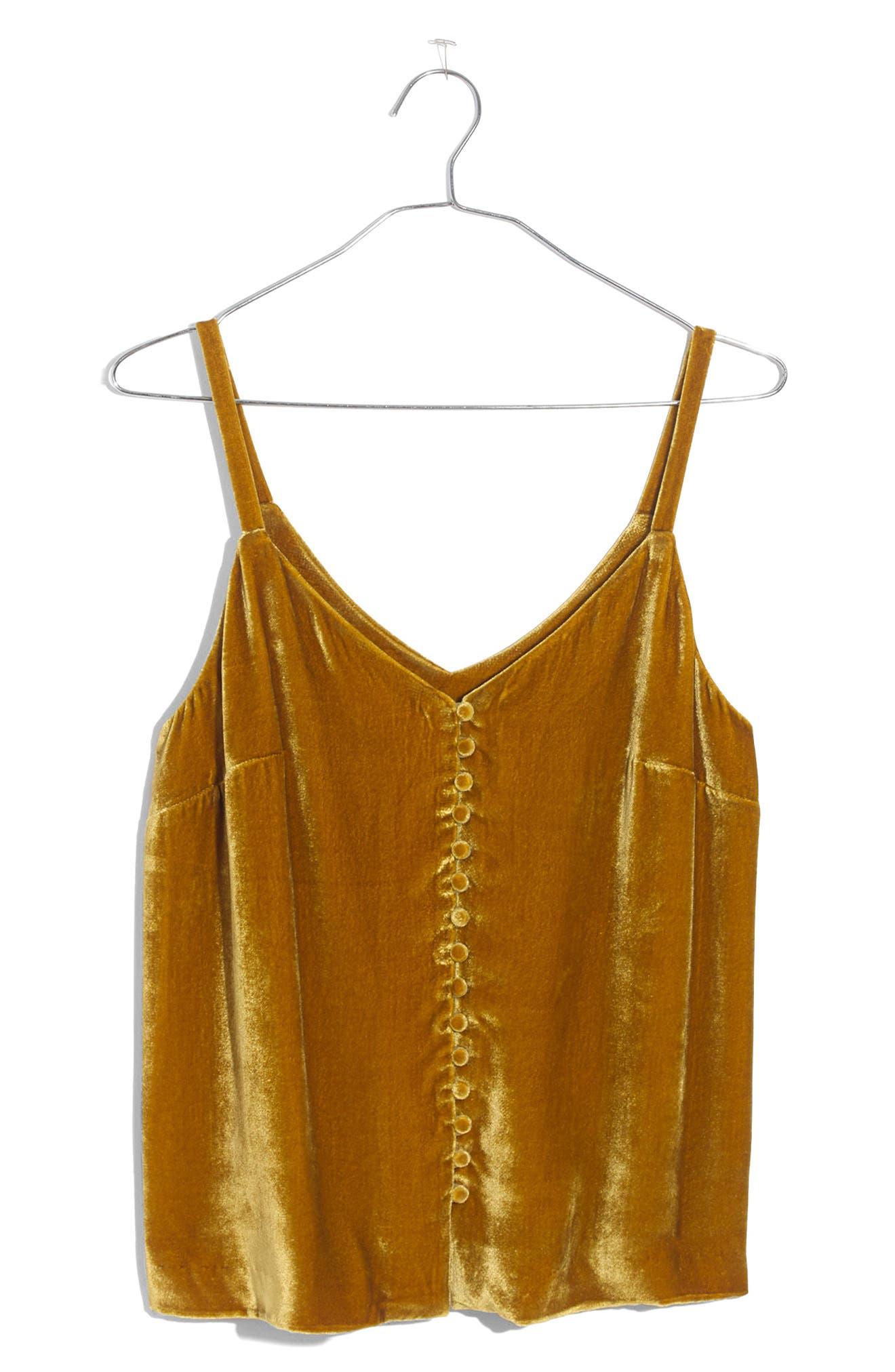 Velvet Button Camisole,                             Alternate thumbnail 6, color,                             Vintage Gold