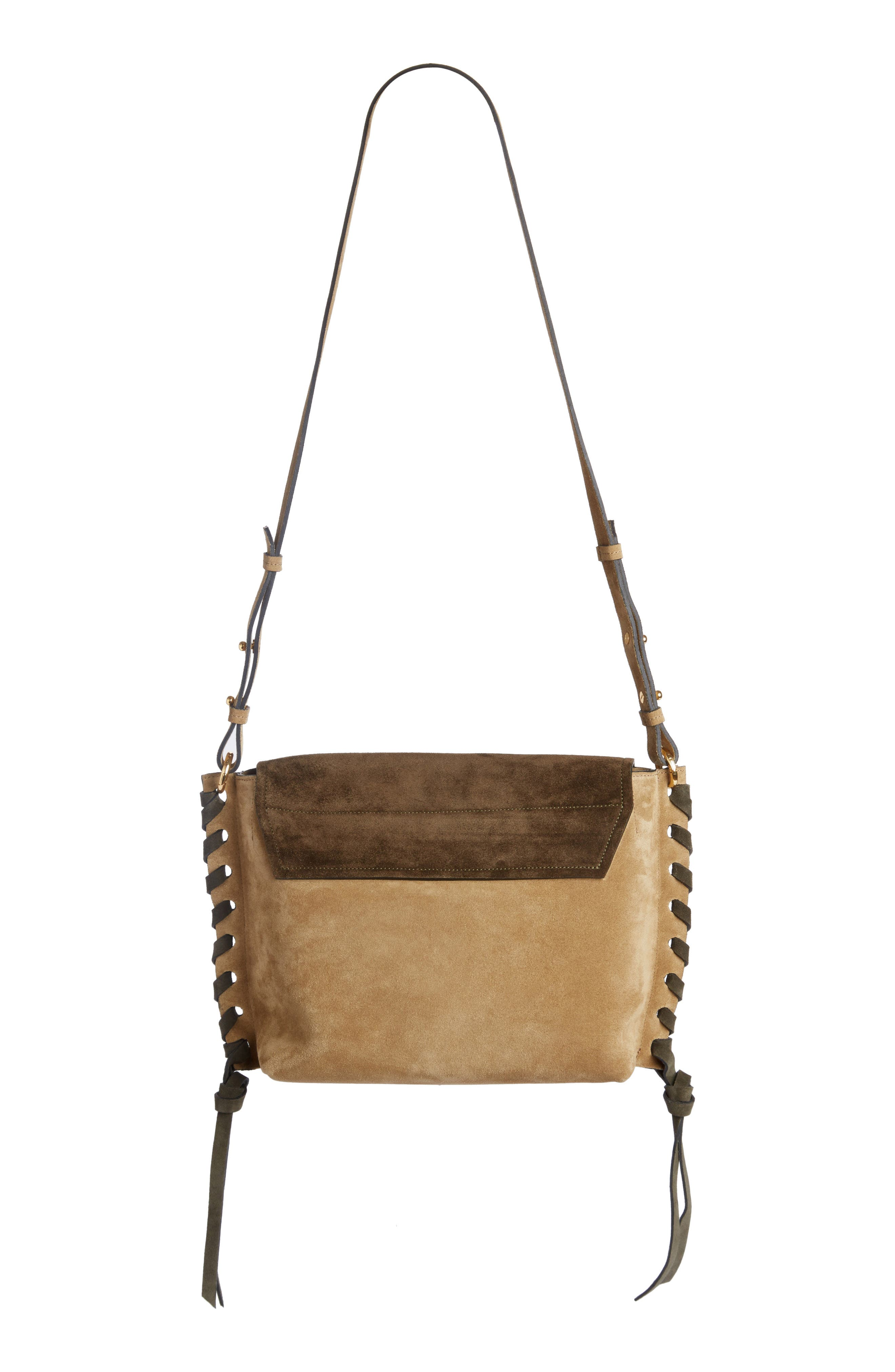 Asli Colorblock Suede Shoulder Bag,                             Alternate thumbnail 2, color,                             Khaki