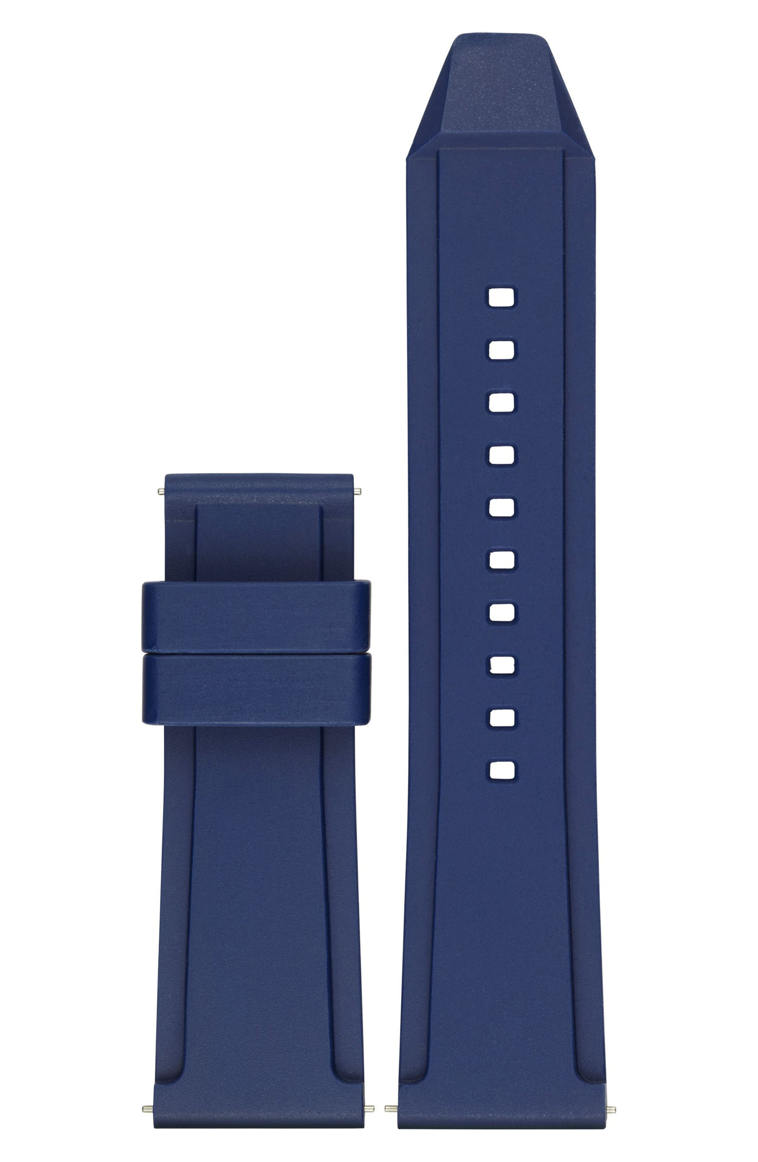 Grayson 24mm Silicone Watch Strap,                             Main thumbnail 1, color,                             Blue