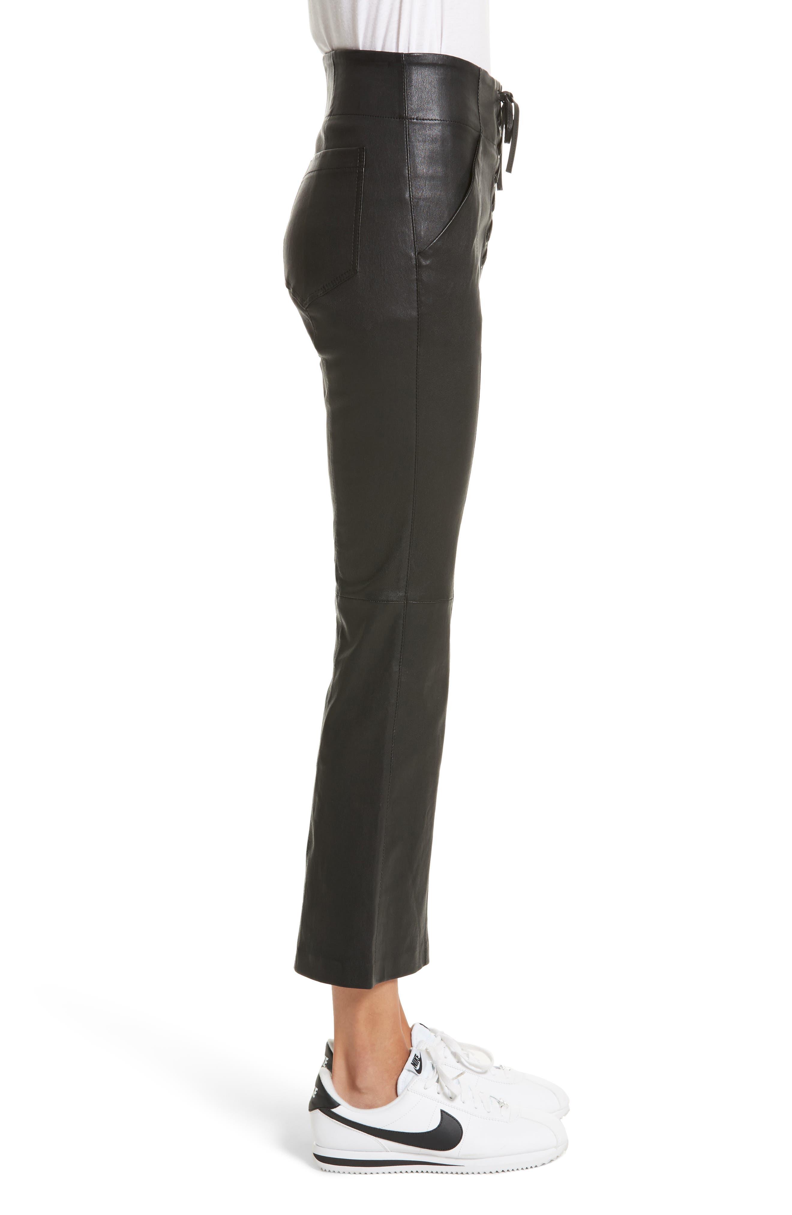 Delia Lace Up Leather Pants,                             Alternate thumbnail 3, color,                             Black