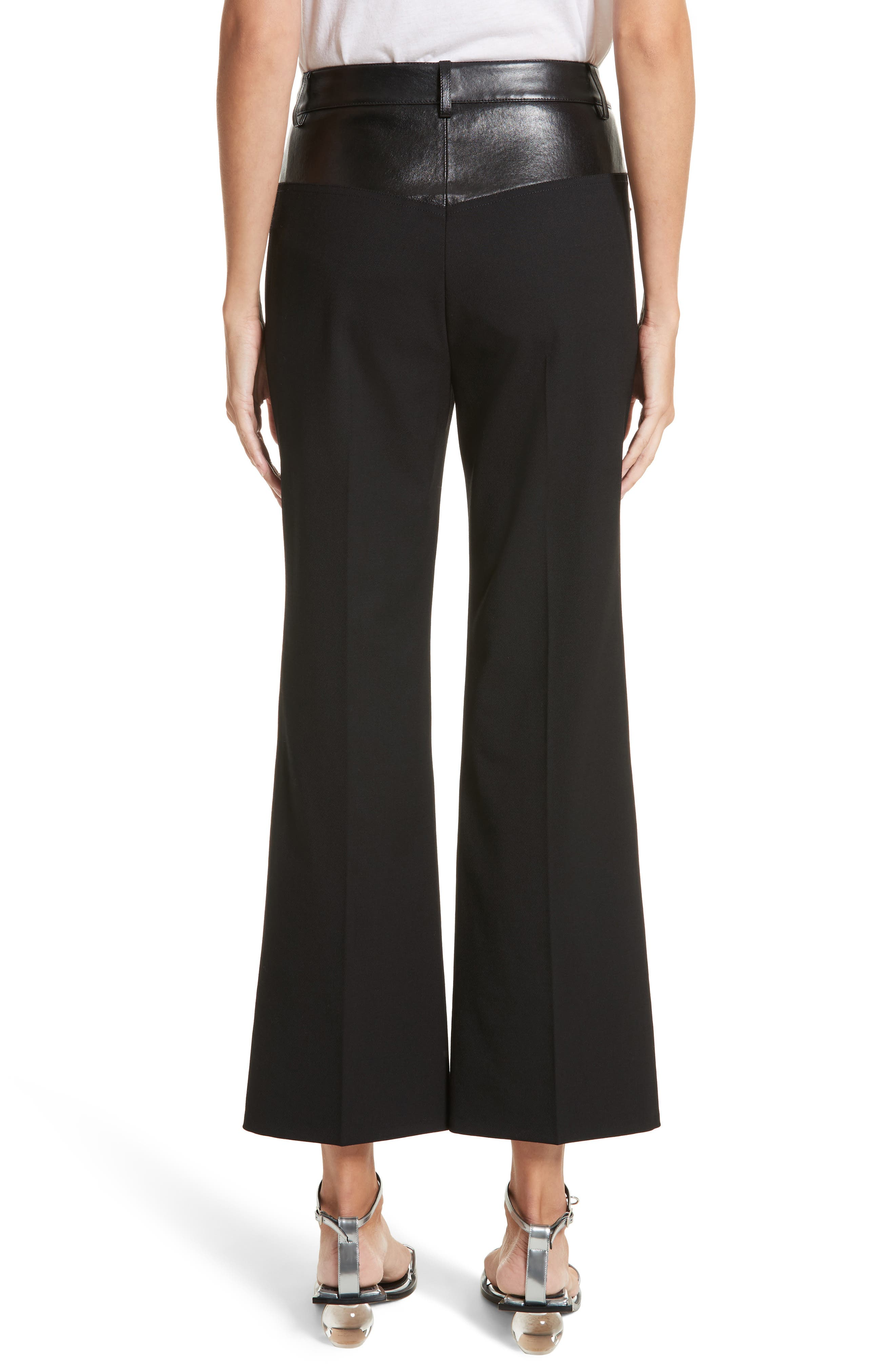 Textured Suiting & Leather Garter Flare Pants,                             Alternate thumbnail 2, color,                             Black